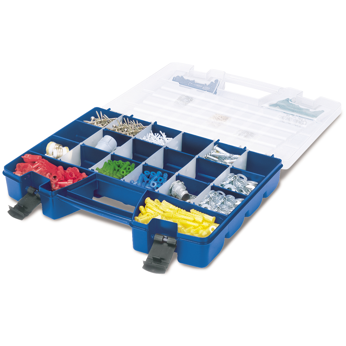 Portable Organizer, 62 Compartment 18-1/4 x 13-3/8 x 3-3/8, Blue (1).  This item sold in carton quantities of 1.