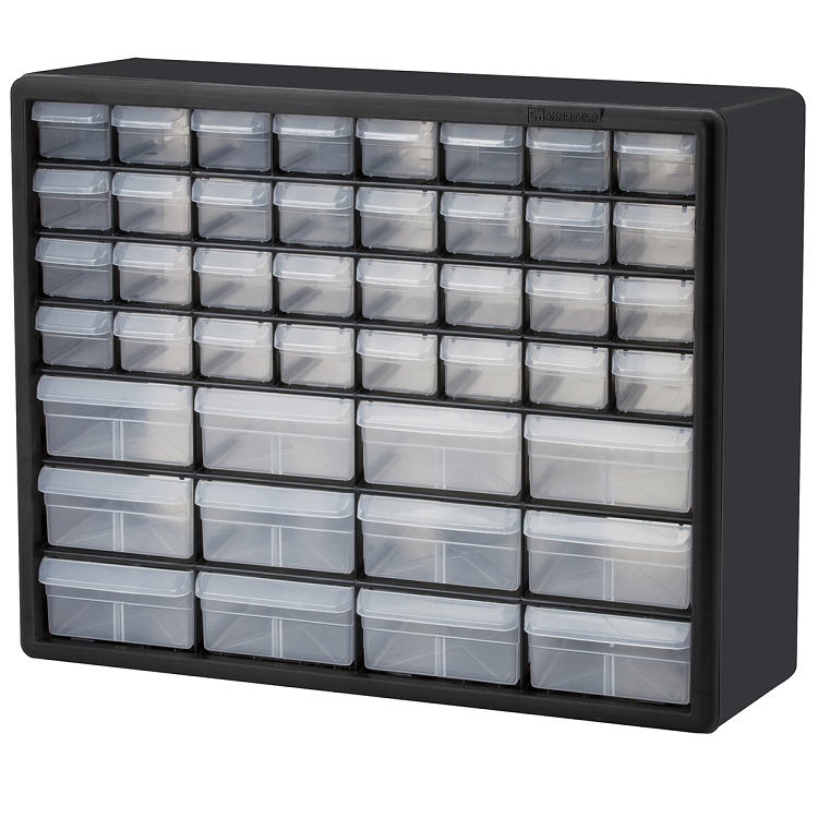 Plastic Storage Cabinet 44 Drawer, 20 x 15-7/8 x 6-3/8, Black (10144).  This item sold in carton quantities of 1.