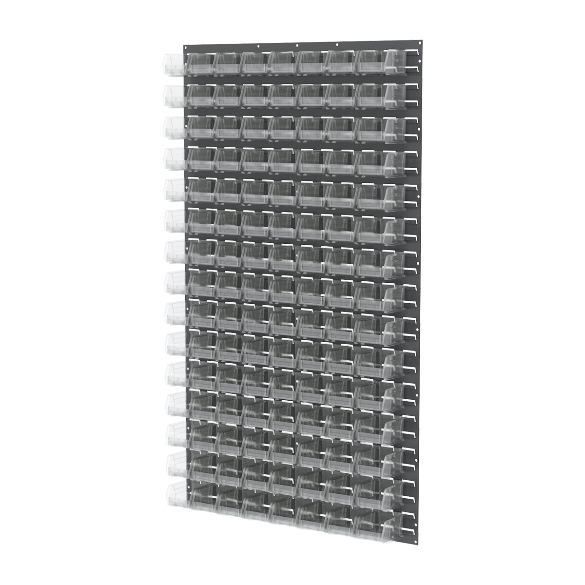 Item DISCONTINUED by Manufacturer.  Louvered Wall Panel, 36 x 61, w/ 96 AkroBins 30210, Gray/Clear (30161210SC).  This item sold in carton quantities of 1.