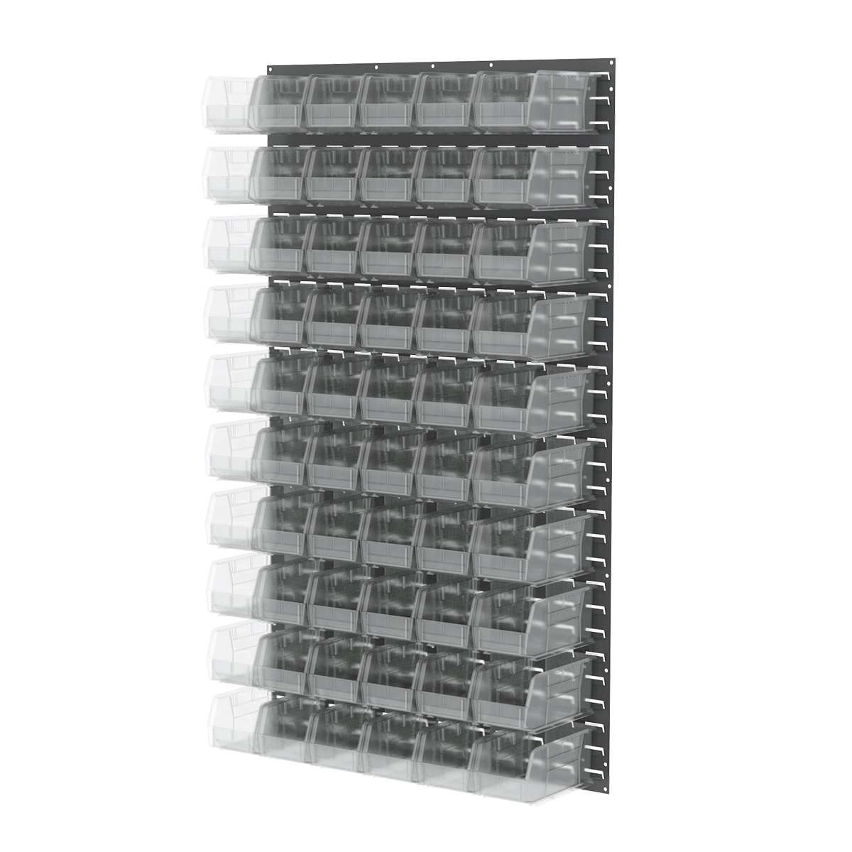 Item DISCONTINUED by Manufacturer.  Louvered Wall Panel, 36 x 61, w/ 60 AkroBins 30230, Gray/Clear (30161230SC).  This item sold in carton quantities of 1.