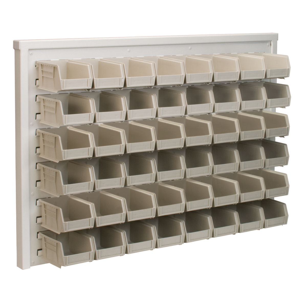 Item DISCONTINUED by Manufacturer.  ReadySpace Wall Rack w/ 48 AkroBins 30210STONE , White (30536210S).  This item sold in carton quantities of 1.