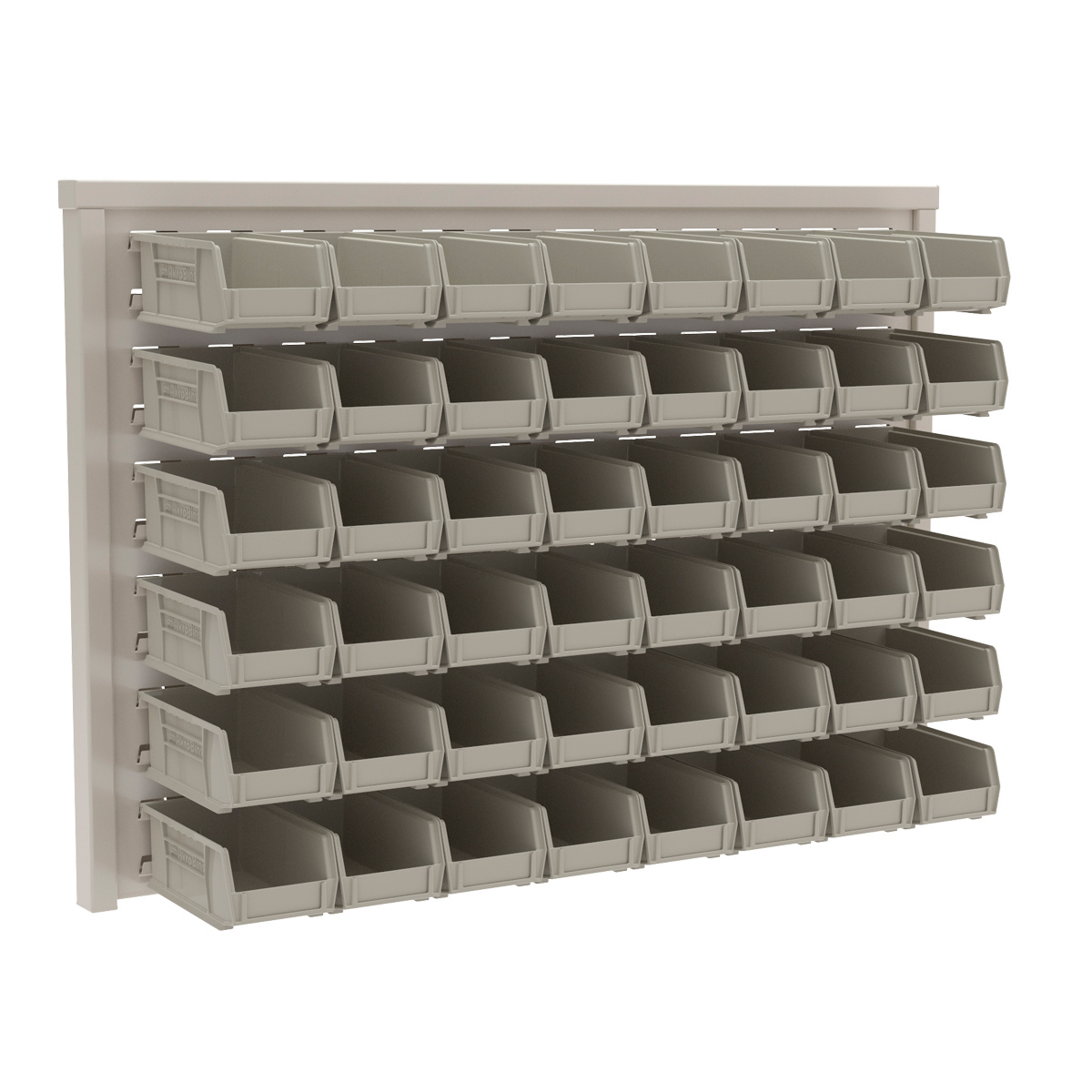 Item DISCONTINUED by Manufacturer.  ReadySpace Wall Rack w/ 48 AkroBins 30220STONE, White (30536220S).  This item sold in carton quantities of 1.