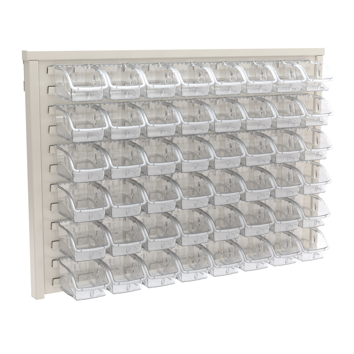 Item DISCONTINUED by Manufacturer.  ReadySpace Wall Rack w/ 48 InSight Bins 305A1, White/Clear (30536A1).  This item sold in carton quantities of 1.