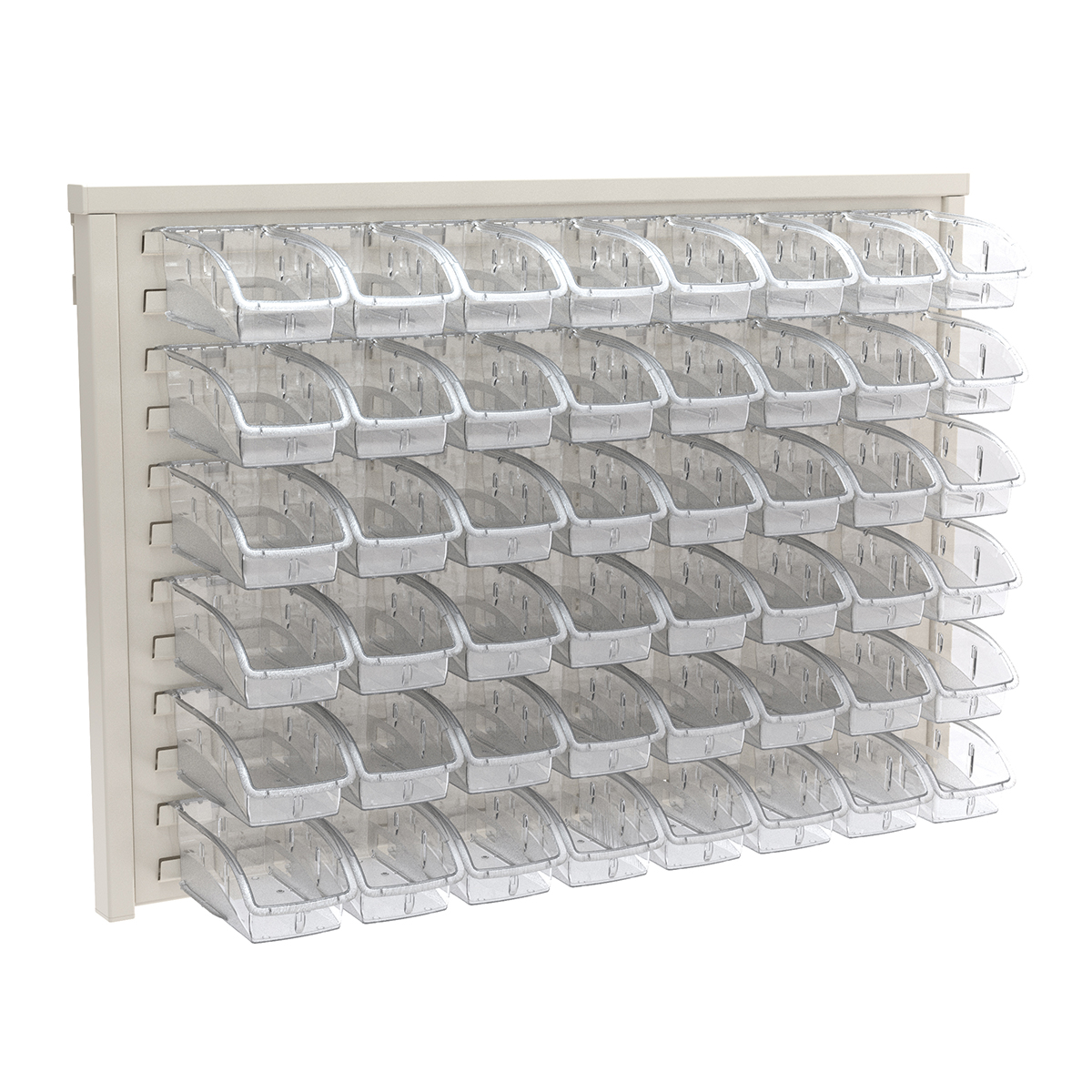 Item DISCONTINUED by Manufacturer.  ReadySpace Wall Rack w/ 48 InSight Bins 305A3, White/Clear (30536A3).  This item sold in carton quantities of 1.