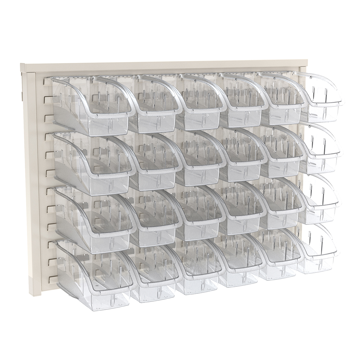 Item DISCONTINUED by Manufacturer.  ReadySpace Wall Rack w/ 24 InSight Bins 305B1, White/Clear (30536B1).  This item sold in carton quantities of 1.