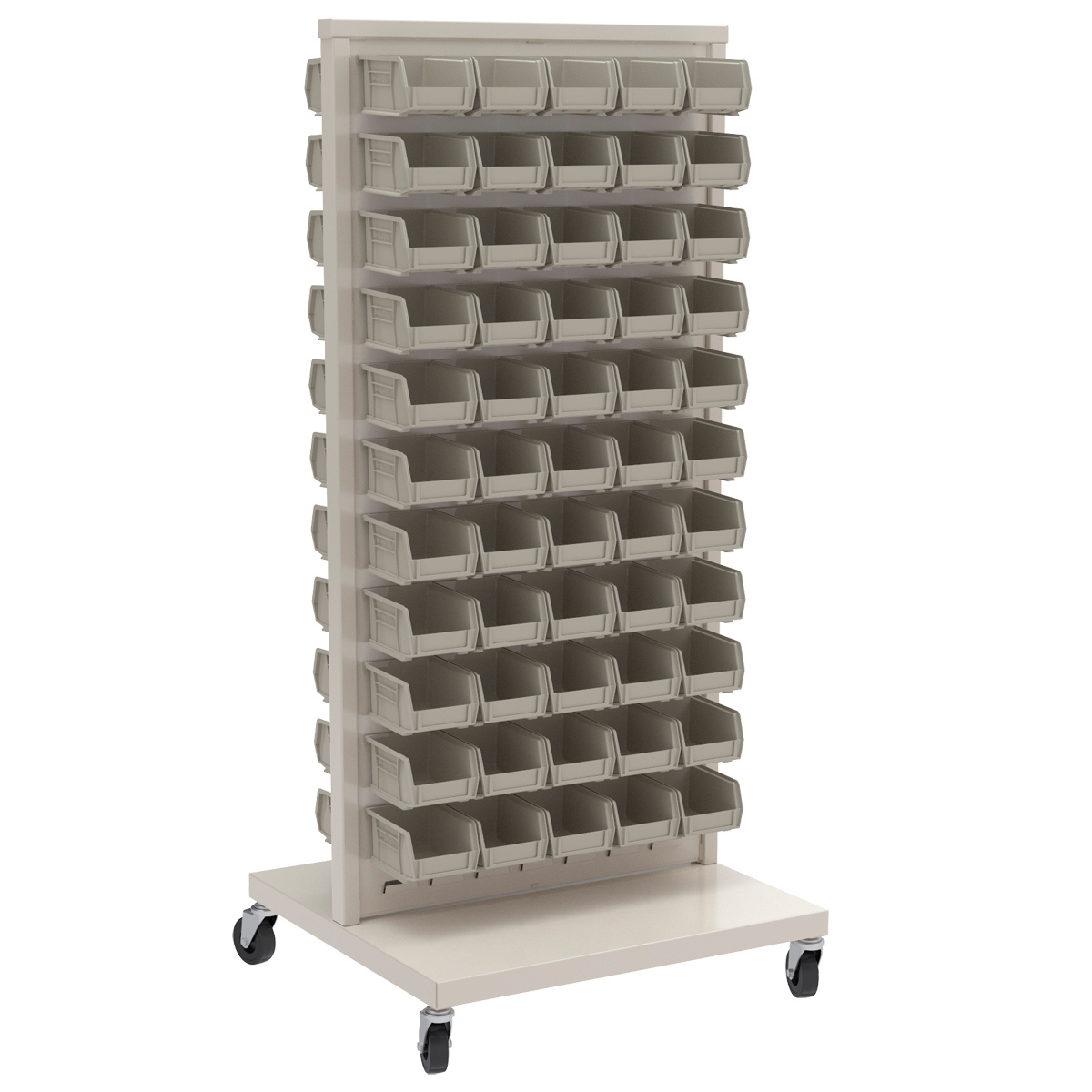 Item DISCONTINUED by Manufacturer.  ReadySpace Floor Unit w/ 120 AkroBins, 30210STONE, White (30553210S).  This item sold in carton quantities of 1.