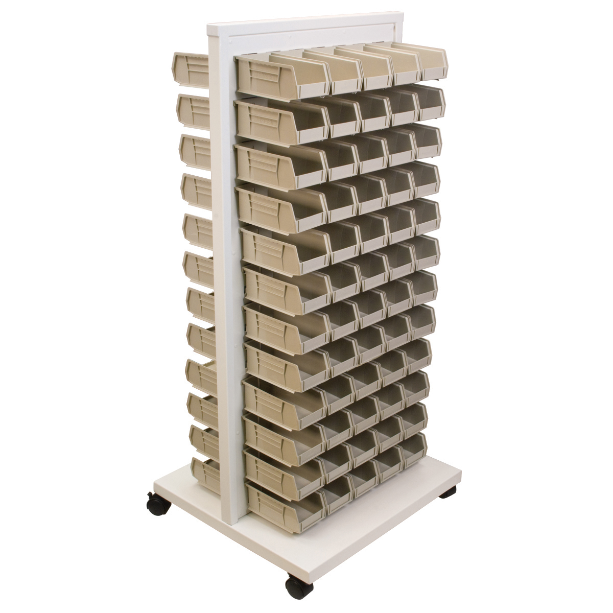 Item DISCONTINUED by Manufacturer.  ReadySpace Floor Unit w/ 120 AkroBins, 30220STONE, White (30553220S).  This item sold in carton quantities of 1.