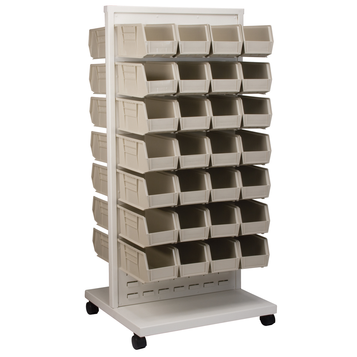 Item DISCONTINUED by Manufacturer.  ReadySpace Floor Unit w/ 60 AkroBins, 30230STONE, White (30553230S).  This item sold in carton quantities of 1.