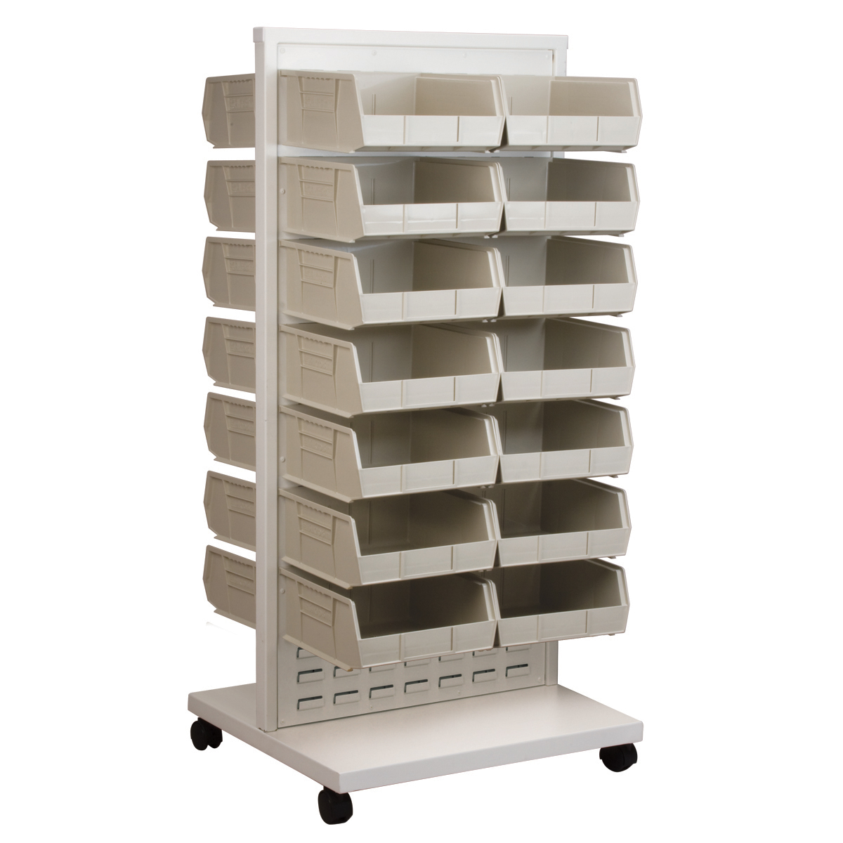 Item DISCONTINUED by Manufacturer.  ReadySpace Floor Unit w/ 30 AkroBins, 30235STONE, White (30553235S).  This item sold in carton quantities of 1.