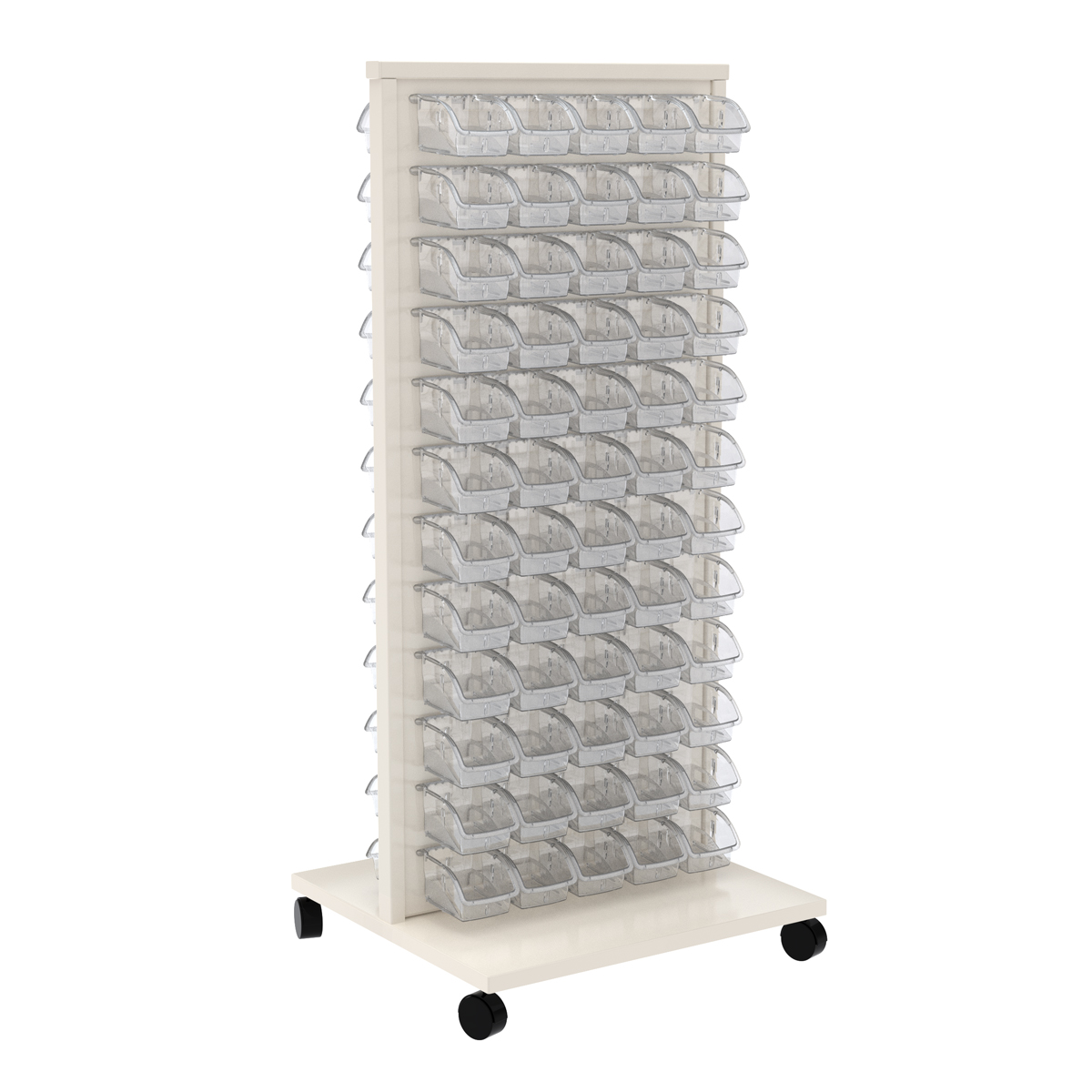 Item DISCONTINUED by Manufacturer.  ReadySpace Floor Unit w/ 120 InSight Bins 305A1, White/Clear (30553A1).  This item sold in carton quantities of 1.