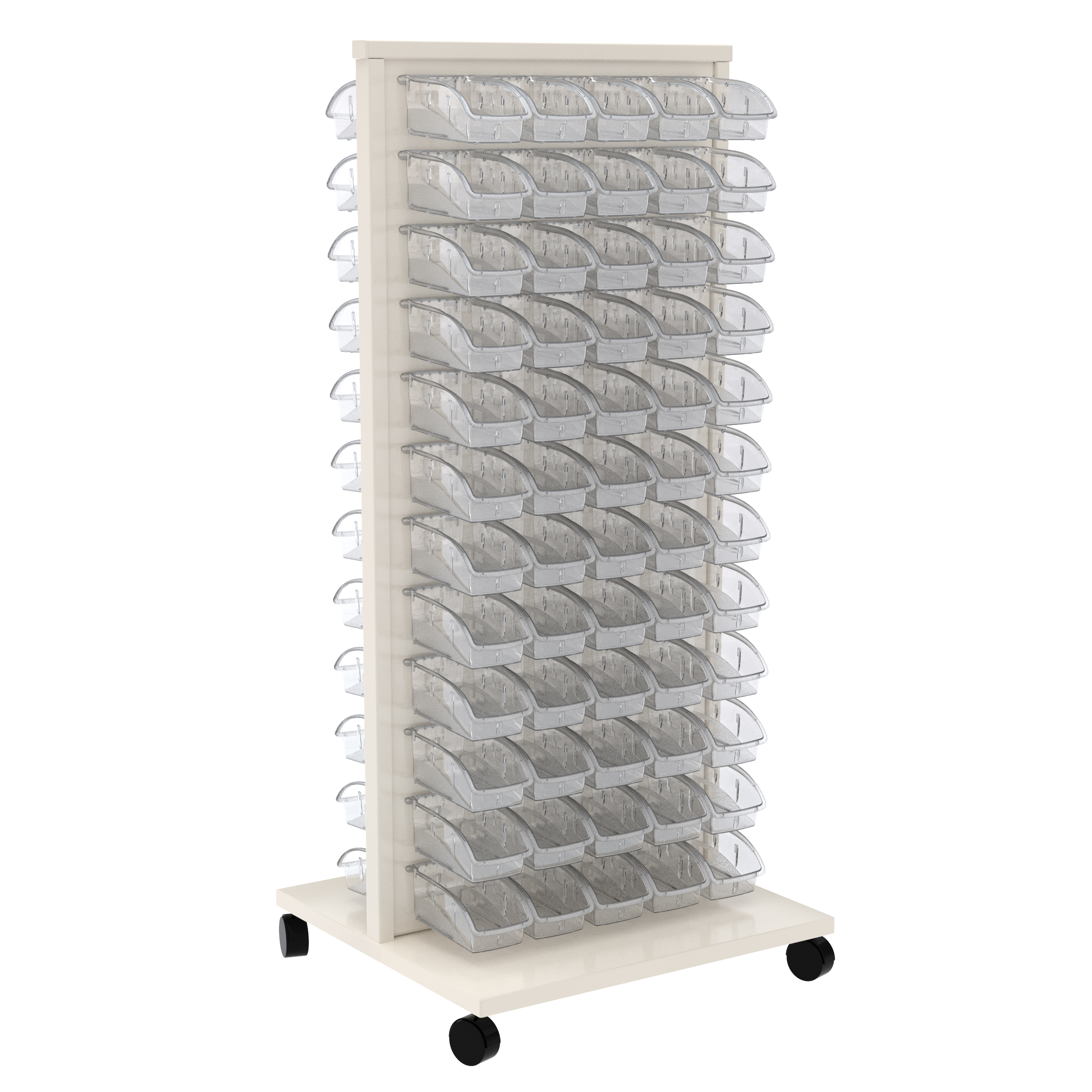 Item DISCONTINUED by Manufacturer.  ReadySpace Floor Unit w/ 120 InSight Bins 305A3, White/Clear (30553A3).  This item sold in carton quantities of 1.
