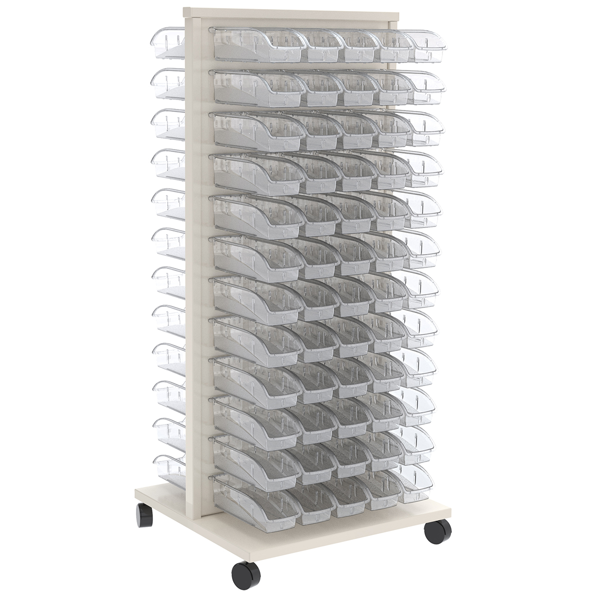 Item DISCONTINUED by Manufacturer.  ReadySpace Floor Unit w/ 120 InSight Bins 305A5, White/Clear (30553A5).  This item sold in carton quantities of 1.