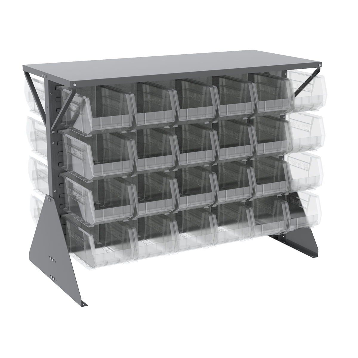 Item DISCONTINUED by Manufacturer.  Low Profile Floor Rack, 2-Sided, Shelf w/ 48 AkroBins, Gray/Clear (30606GY240SC).  This item sold in carton quantities of 1.