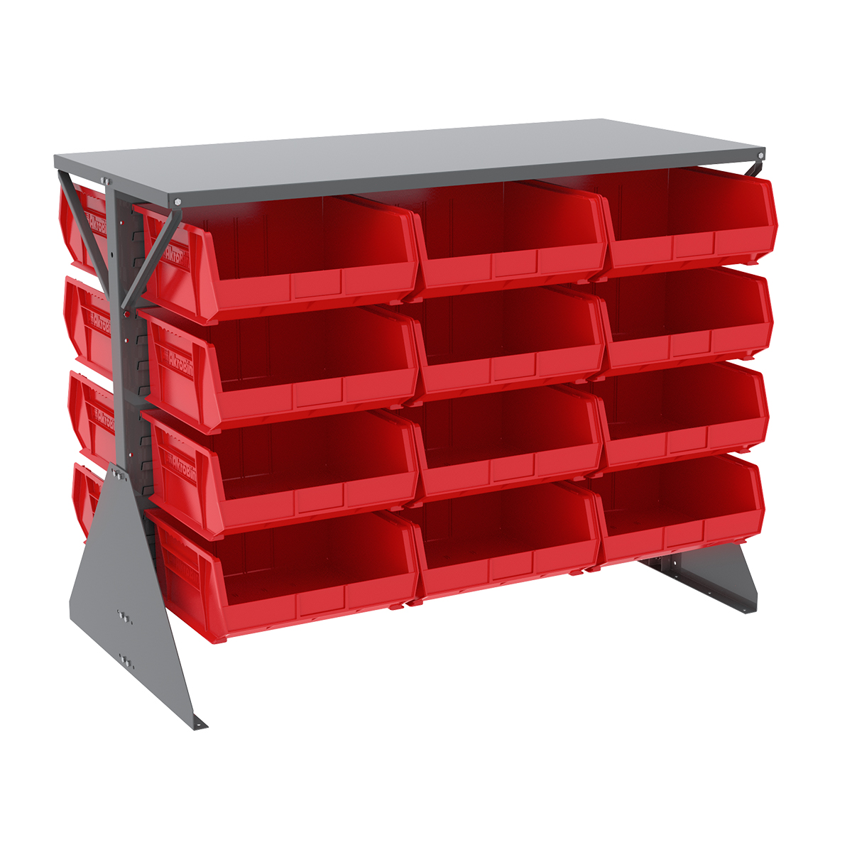 Item DISCONTINUED by Manufacturer.  Low Profile Floor Rack, 2-Sided, Shelf w/ 24 AkroBins, Gray/Red (30606GY250R).  This item sold in carton quantities of 1.