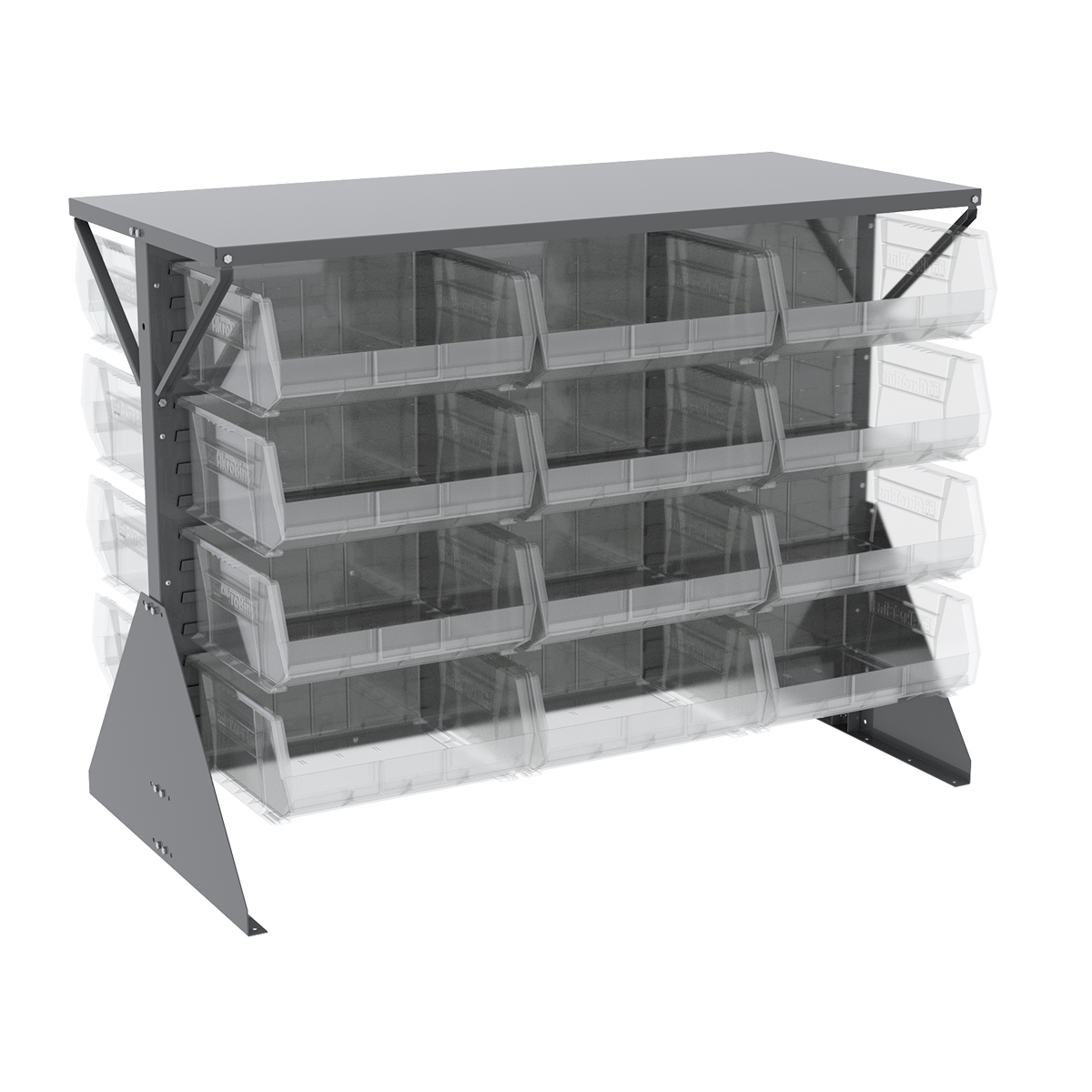 Item DISCONTINUED by Manufacturer.  Low Profile Floor Rack, 2-Sided, Shelf w/ 24 AkroBins, Gray/Clear (30606GY250SC).  This item sold in carton quantities of 1.