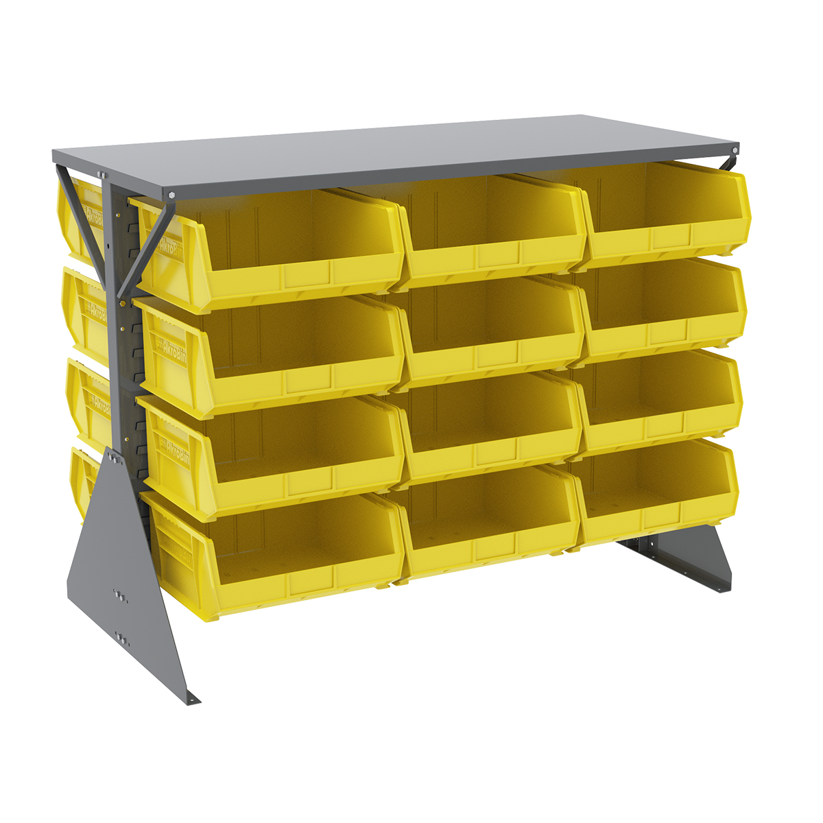 Item DISCONTINUED by Manufacturer.  Low Profile Floor Rack, 2-Sided, Shelf w/ 24 AkroBins, Gray/Yellow (30606GY250Y).  This item sold in carton quantities of 1.