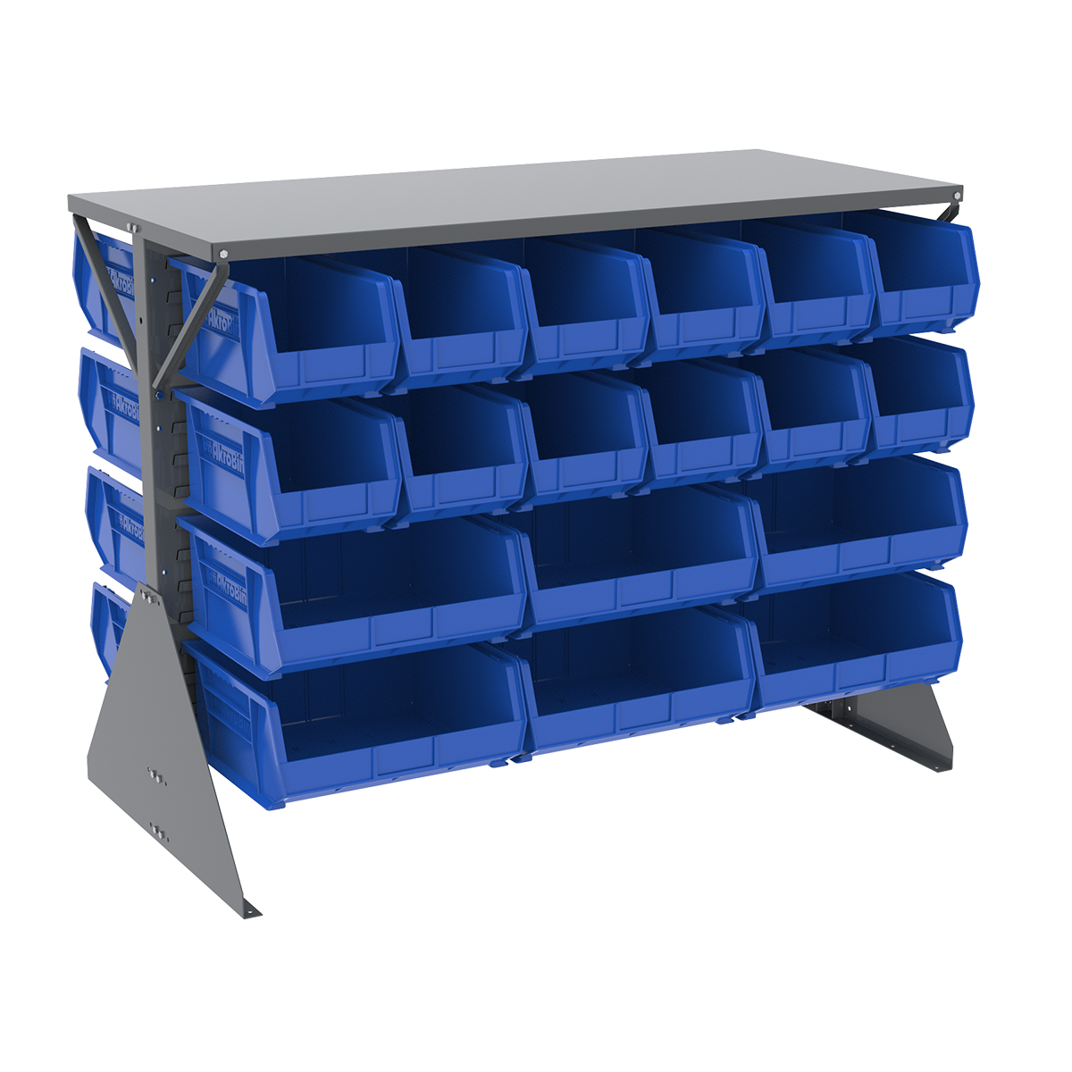 Item DISCONTINUED by Manufacturer.  Low Profile Floor Rack, 2-Sided, Shelf w/ 36 AkroBins, Gray/Blue (30606GYASSTB).  This item sold in carton quantities of 1.