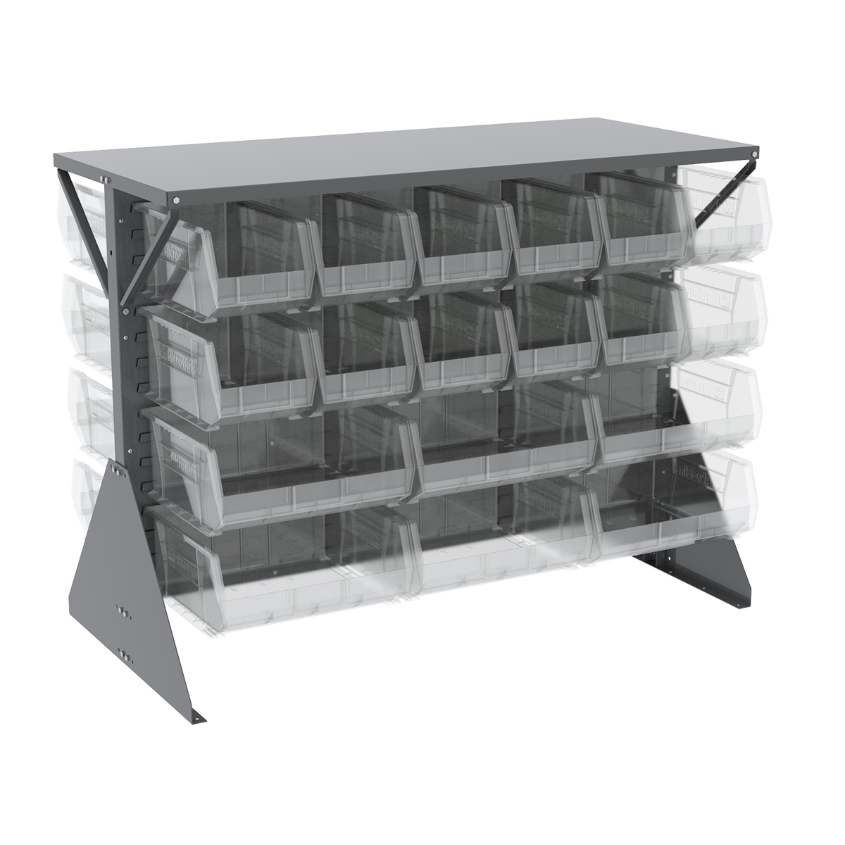Item DISCONTINUED by Manufacturer.  Low Profile Floor Rack, 2-Sided, Shelf w/ 36 AkroBins, Gray/Clear (30606GYASSTSC).  This item sold in carton quantities of 1.