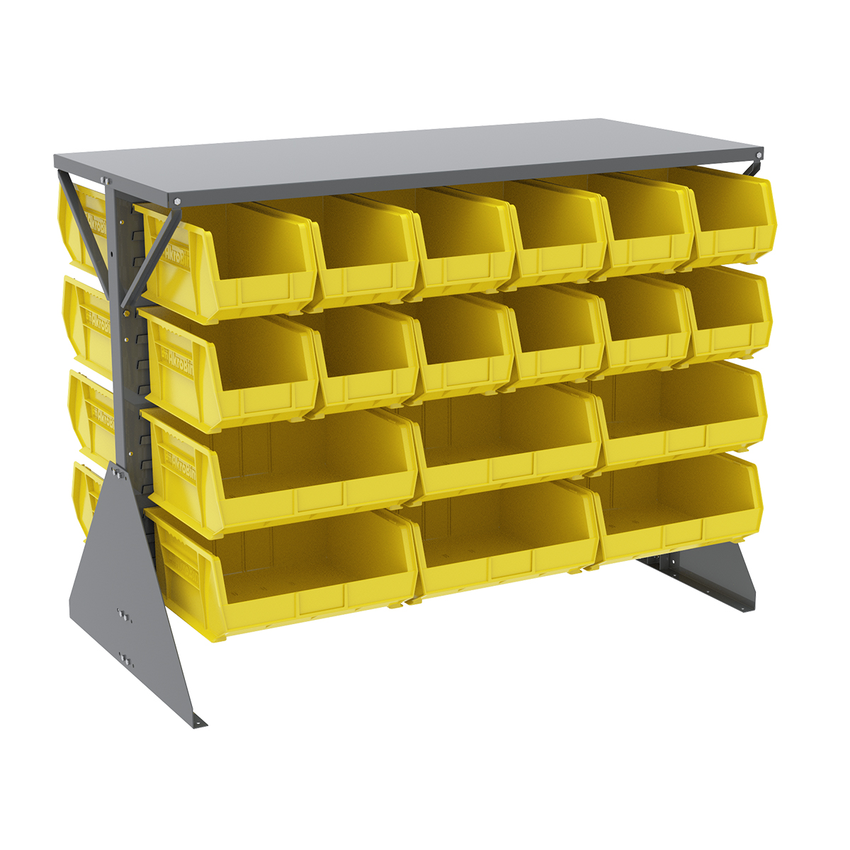 Item DISCONTINUED by Manufacturer.  Low Profile Floor Rack, 2-Sided, Shelf w/ 36 AkroBins, Gray/Yellow (30606GYASSTY).  This item sold in carton quantities of 1.