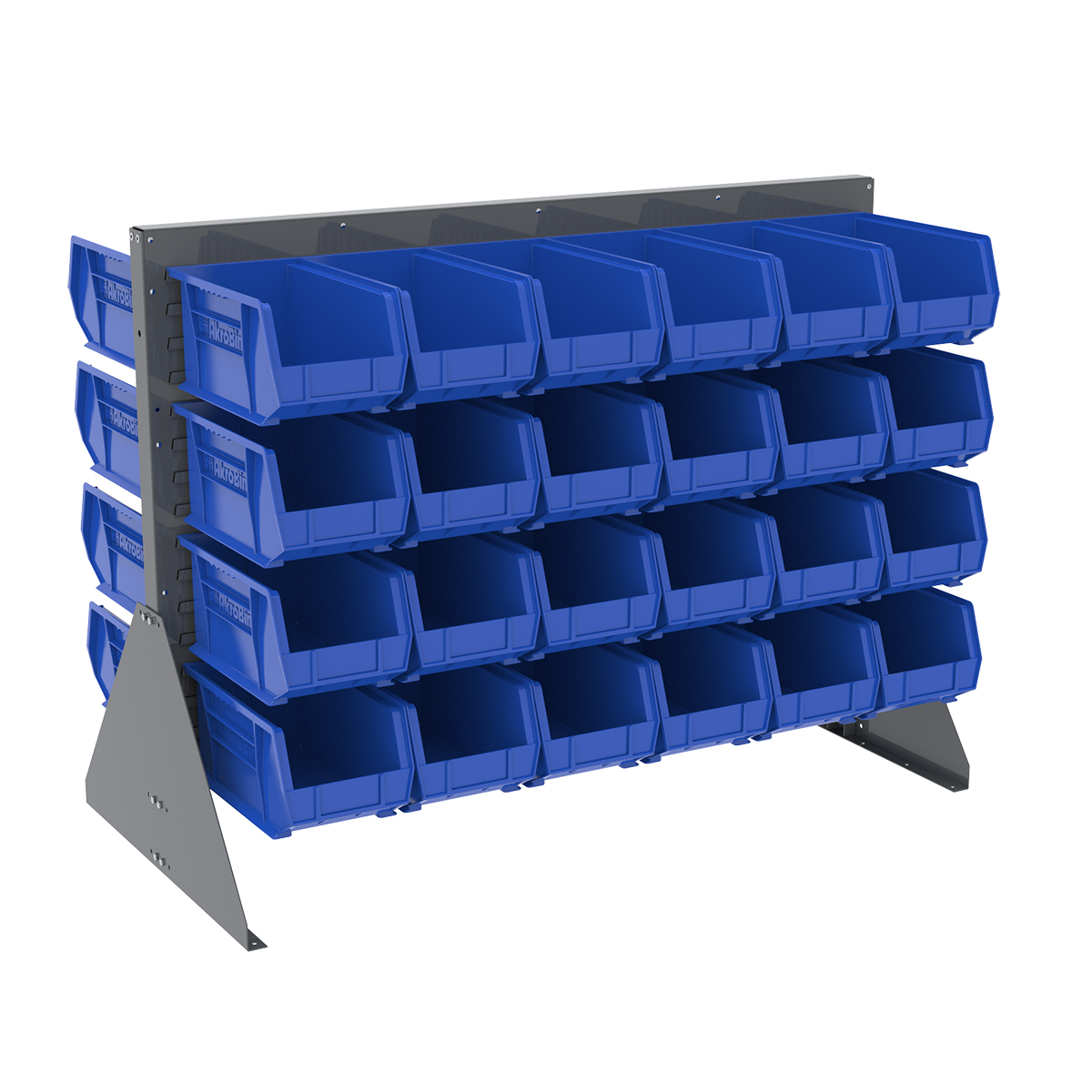 Item DISCONTINUED by Manufacturer.  Low Profile Floor Rack, 2-Sided w/ 48 AkroBins, Gray/Blue (30607GY240B).  This item sold in carton quantities of 1.