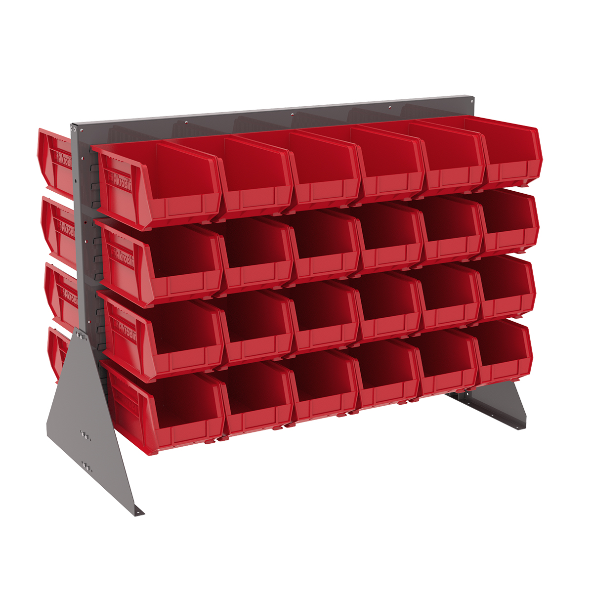 Item DISCONTINUED by Manufacturer.  Low Profile Floor Rack, 2-Sided w/ 48 AkroBins, Gray/Red (30607GY240R).  This item sold in carton quantities of 1.