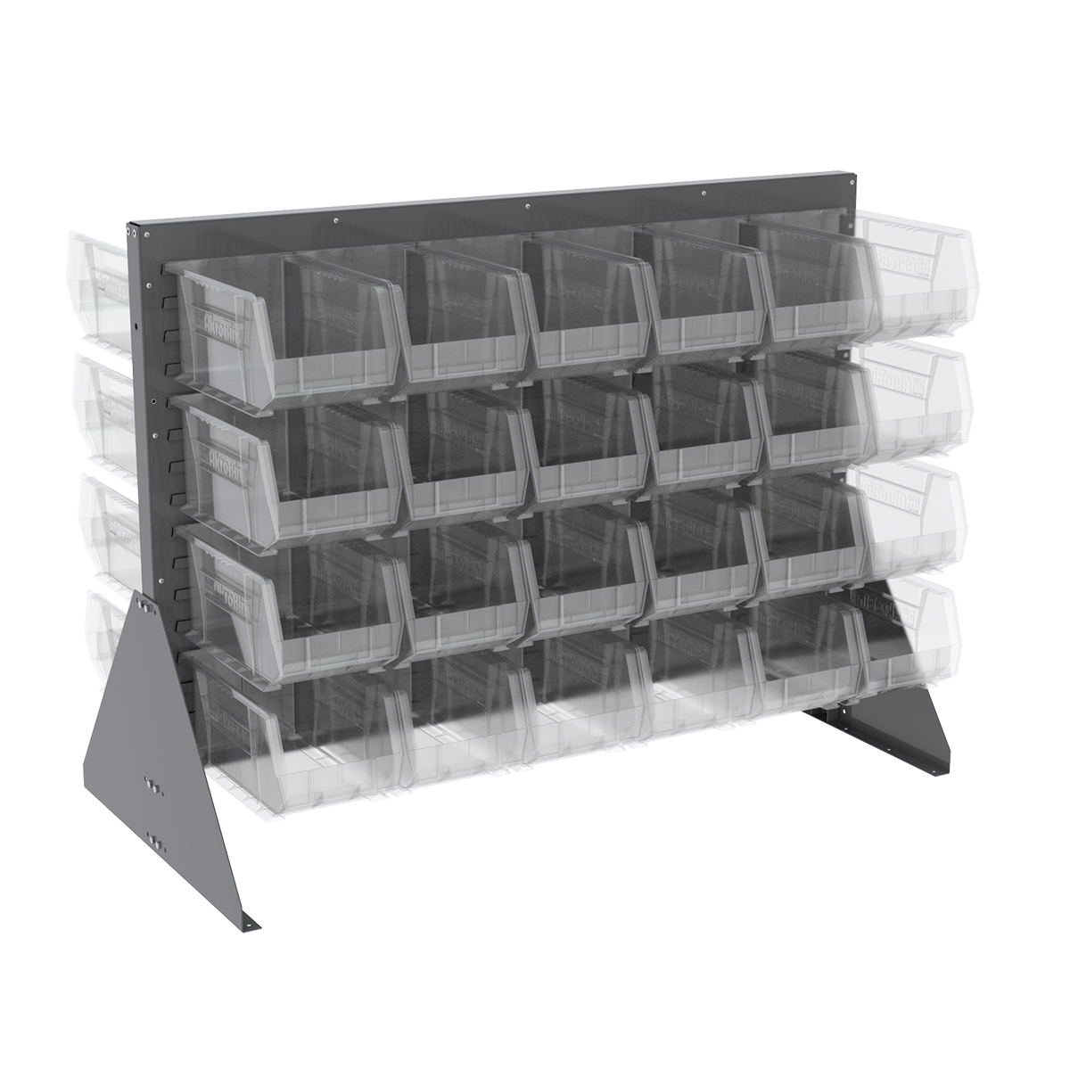 Item DISCONTINUED by Manufacturer.  Low Profile Floor Rack, 2-Sided w/ 48 AkroBins, Gray/Clear (30607GY240SC).  This item sold in carton quantities of 1.