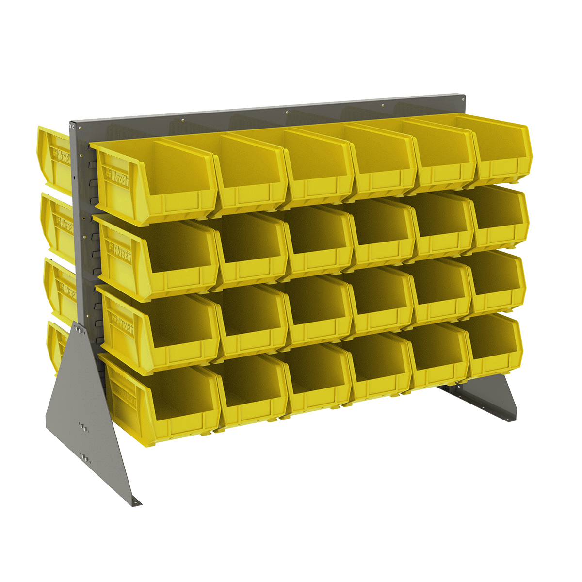 Item DISCONTINUED by Manufacturer.  Low Profile Floor Rack, 2-Sided w/ 48 AkroBins, Gray/Yellow (30607GY240Y).  This item sold in carton quantities of 1.