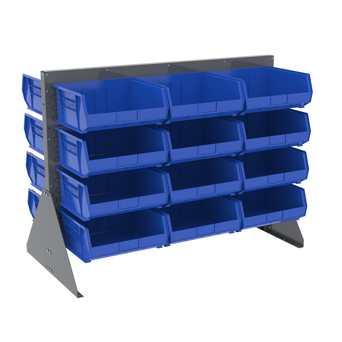 Item DISCONTINUED by Manufacturer.  Low Profile Floor Rack, 2-Sided w/ 36 AkroBins, Gray/Blue (30607GY250B).  This item sold in carton quantities of 1.