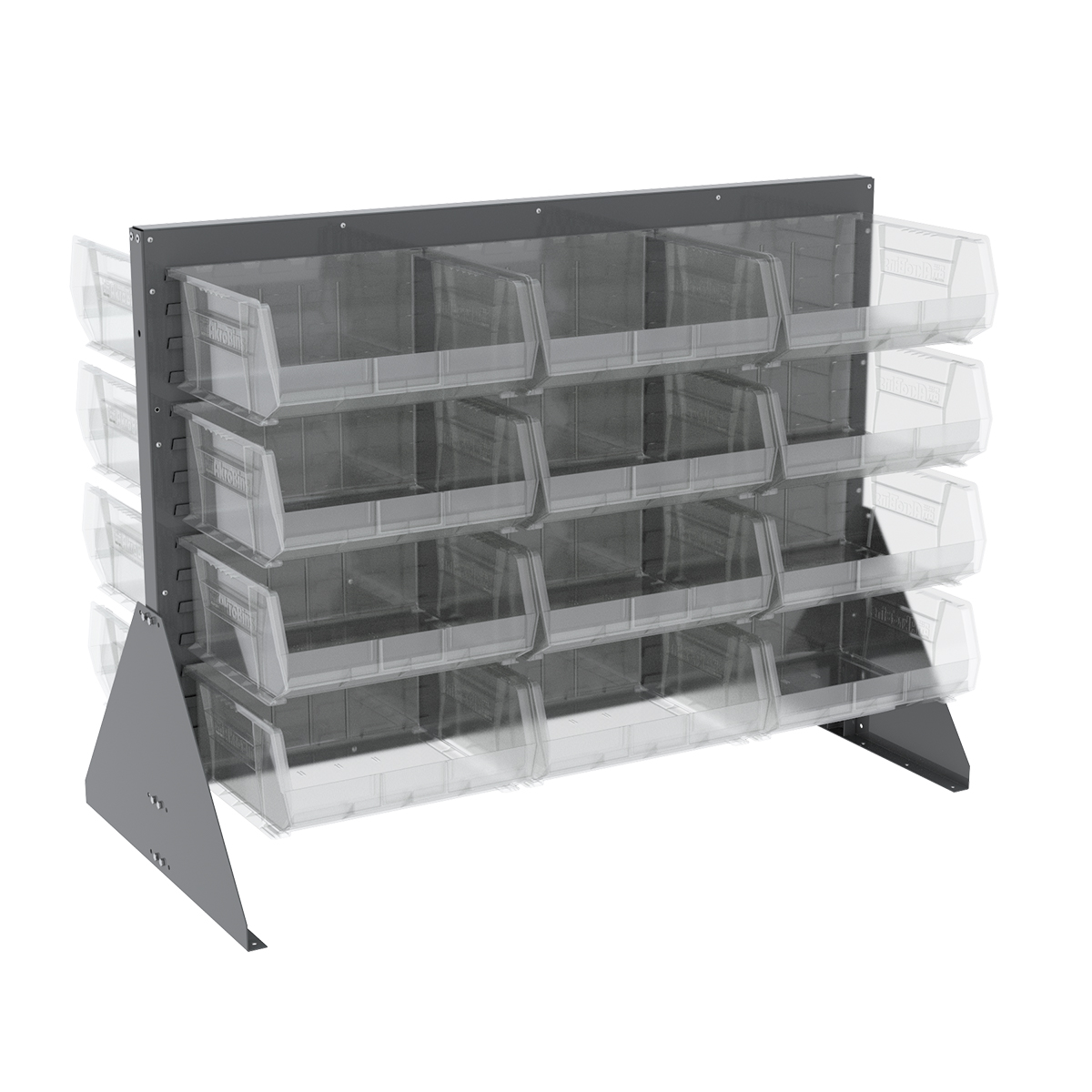 Item DISCONTINUED by Manufacturer.  Low Profile Floor Rack, 2-Sided w/ 36 AkroBins, Gray/Clear (30607GY250SC).  This item sold in carton quantities of 1.