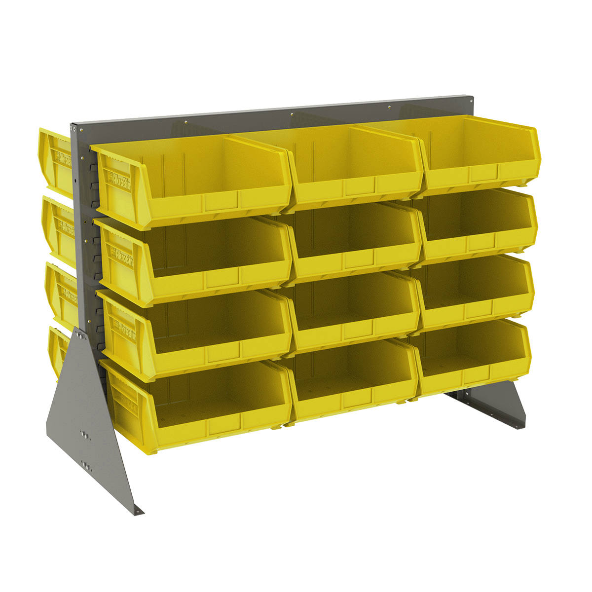 Item DISCONTINUED by Manufacturer.  Low Profile Floor Rack, 2-Sided w/ 24 AkroBins, Gray/Yellow (30607GY250Y).  This item sold in carton quantities of 1.