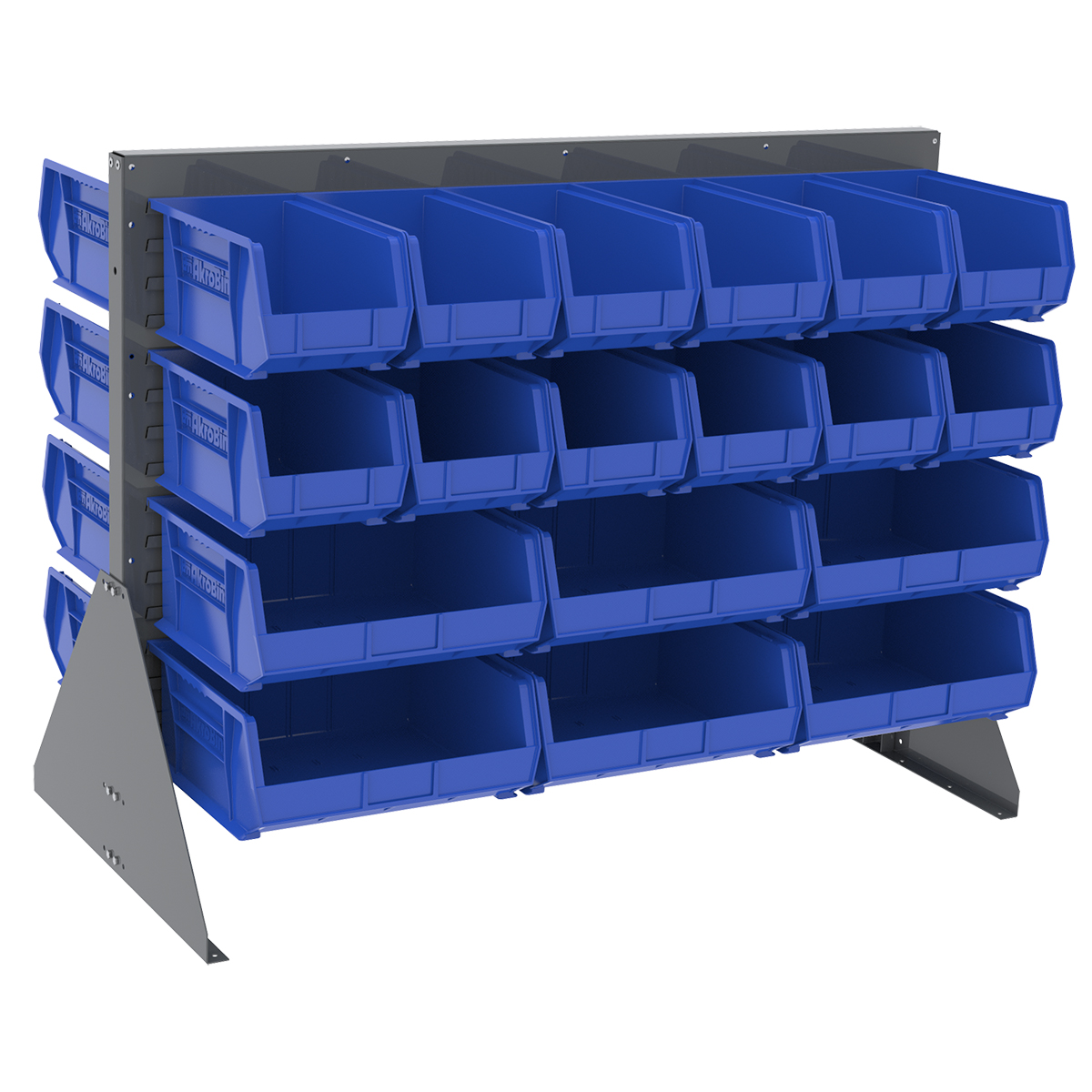 Item DISCONTINUED by Manufacturer.  Low Profile Floor Rack, 2-Sided w/ 36 AkroBins, Gray/Blue (30607GYASSTB).  This item sold in carton quantities of 1.