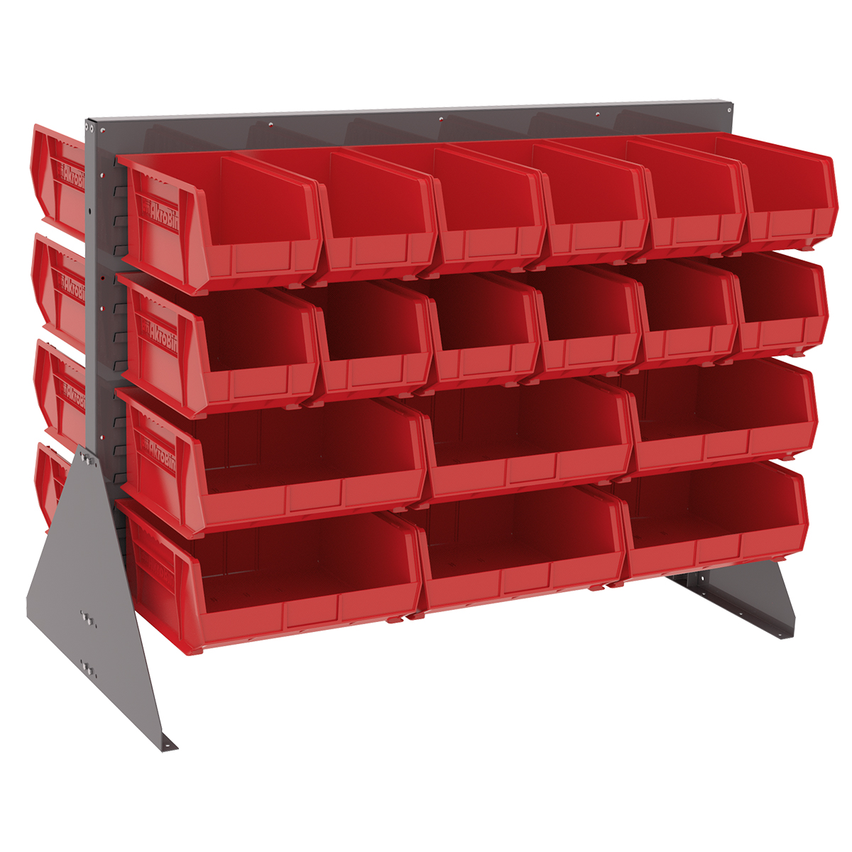 Item DISCONTINUED by Manufacturer.  Low Profile Floor Rack, 2-Sided w/ 36 AkroBins, Gray/Red (30607GYASSTR).  This item sold in carton quantities of 1.