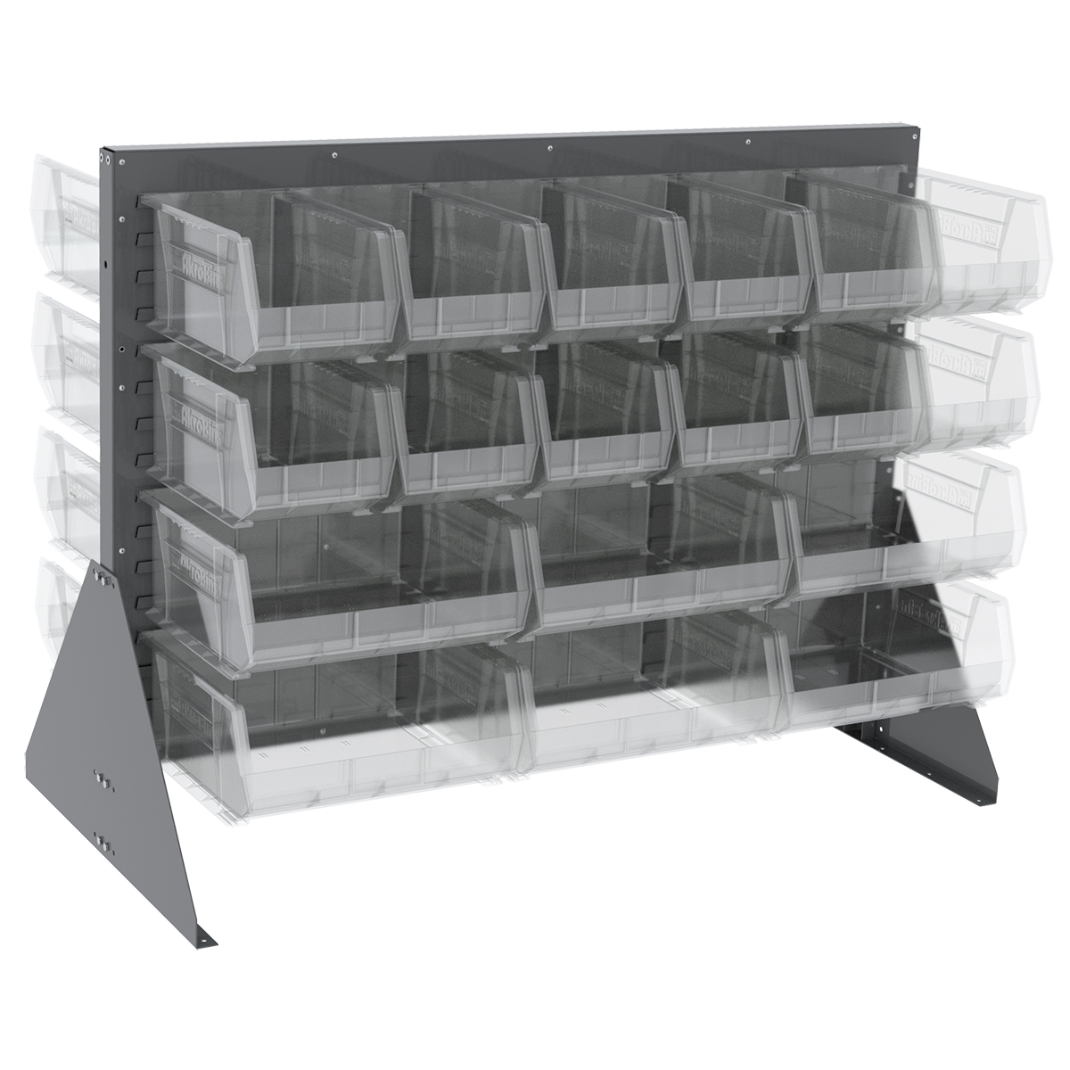 Item DISCONTINUED by Manufacturer.  Low Profile Floor Rack, 2-Sided w/ 36 AkroBins, Gray/Clear (30607GYASSTSC).  This item sold in carton quantities of 1.