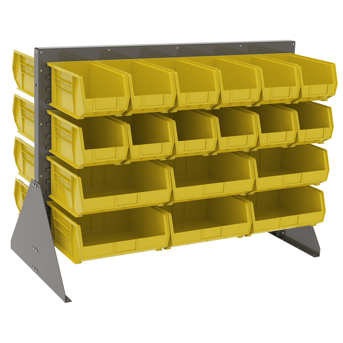 Item DISCONTINUED by Manufacturer.  Low Profile Floor Rack, 2-Sided w/ 36 AkroBins, Gray/Yellow (30607GYASSTY).  This item sold in carton quantities of 1.