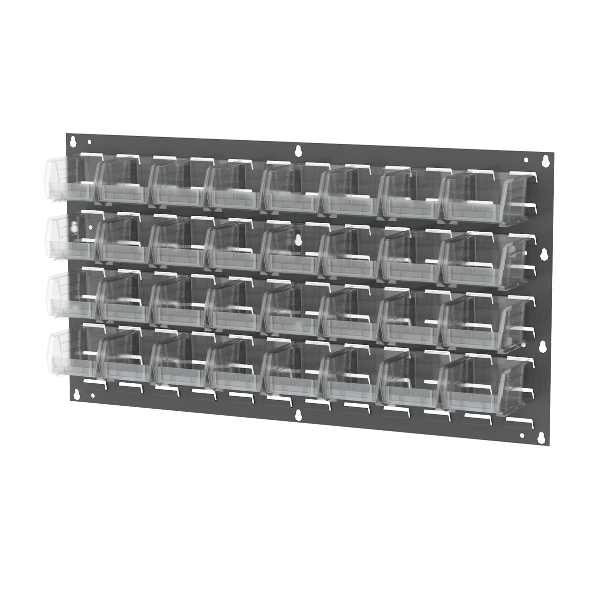 Item DISCONTINUED by Manufacturer.  Louvered Wall Panel, 35-3/4 x 19, w/ 32 AkroBins 30210SCLAR, Gray/Clear (30636210SC).  This item sold in carton quantities of 1.