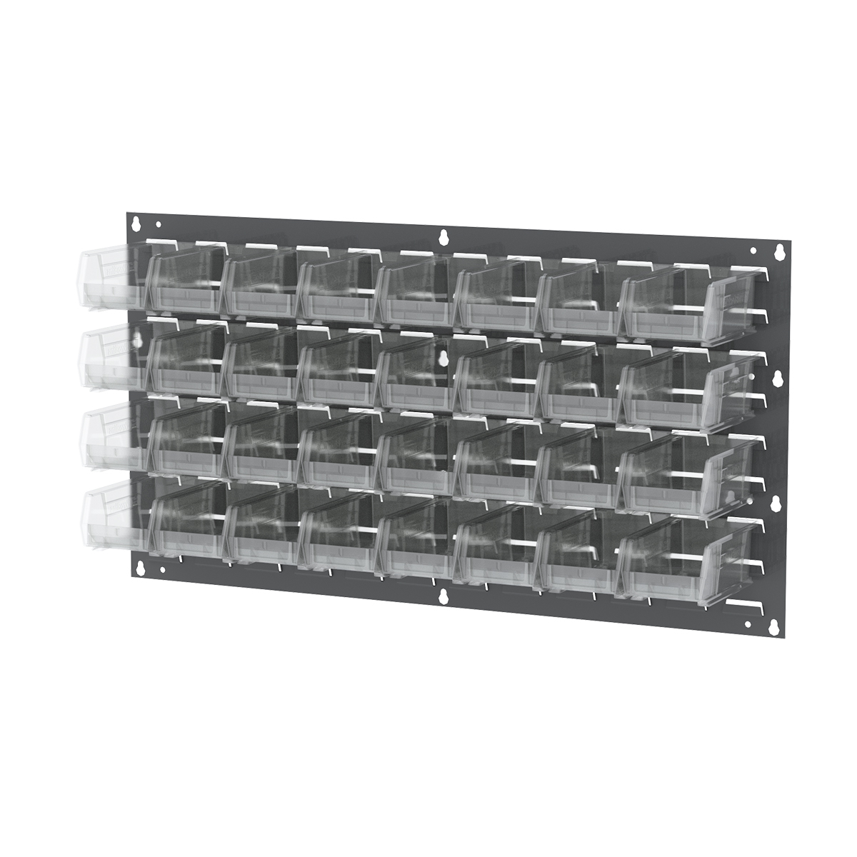 Item DISCONTINUED by Manufacturer.  Louvered Wall Panel, 35-3/4 x 19, w/ 32 AkroBins 30220SCLAR, Gray/Clear (30636220SC).  This item sold in carton quantities of 1.