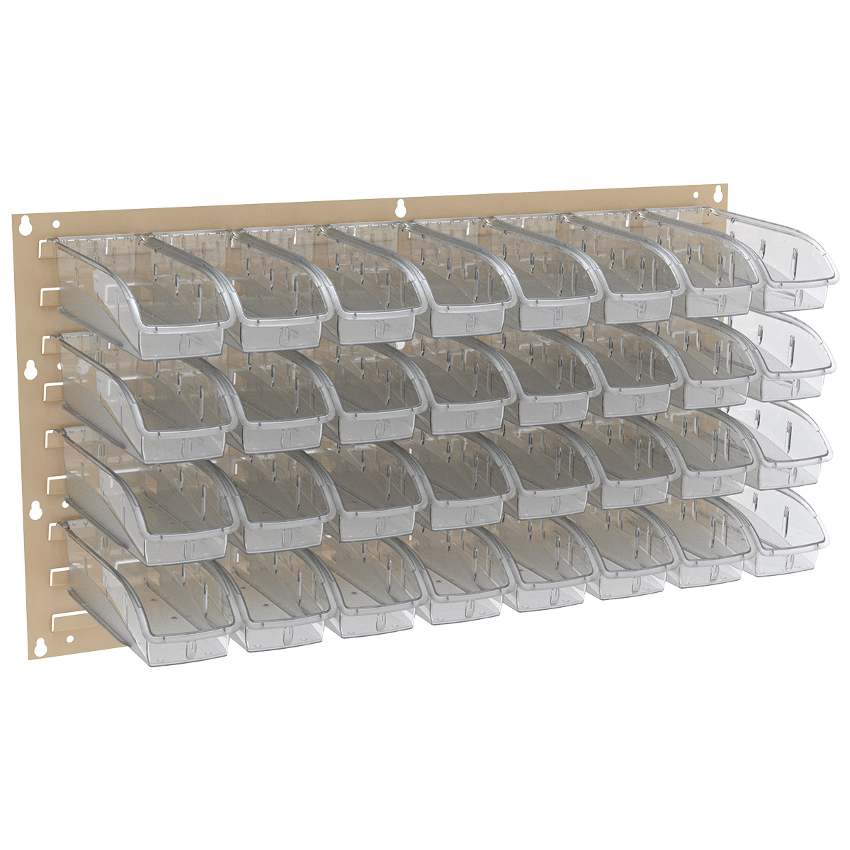 Item DISCONTINUED by Manufacturer.  Louvered Wall Panel, 35-3/4 x 19, w/ 32 InSight Bins 305A5, Gray/Clear (30636BEIGEA5).  This item sold in carton quantities of 1.