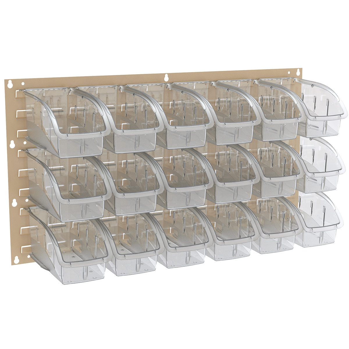 Item DISCONTINUED by Manufacturer.  Louvered Wall Panel, 35-3/4 x 19, w/ 18 InSight Bins 305B1, Gray/Clear (30636BEIGEB1).  This item sold in carton quantities of 1.