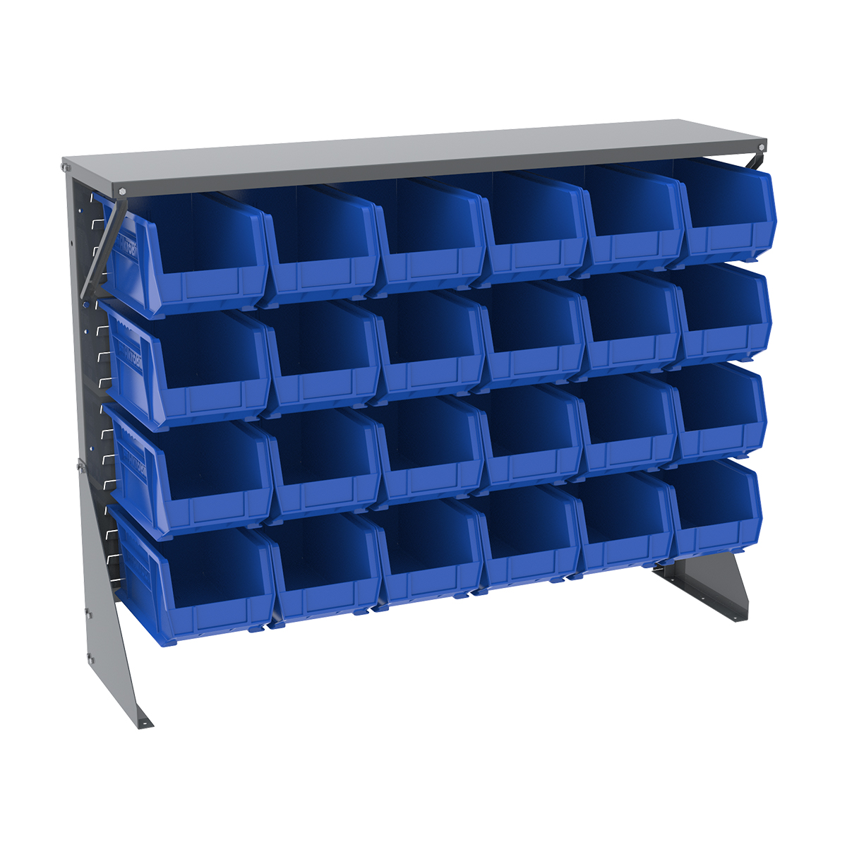 Item DISCONTINUED by Manufacturer.  Low Profile Floor Rack, 1-Sided, Shelf w/ 24 AkroBins, Gray/Blue (30650GY240B).  This item sold in carton quantities of 1.