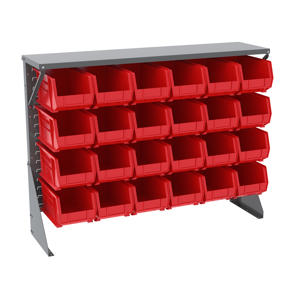Item DISCONTINUED by Manufacturer.  Low Profile Floor Rack, 1-Sided, Shelf w/ 24 AkroBins, Gray/Red (30650GY240R).  This item sold in carton quantities of 1.