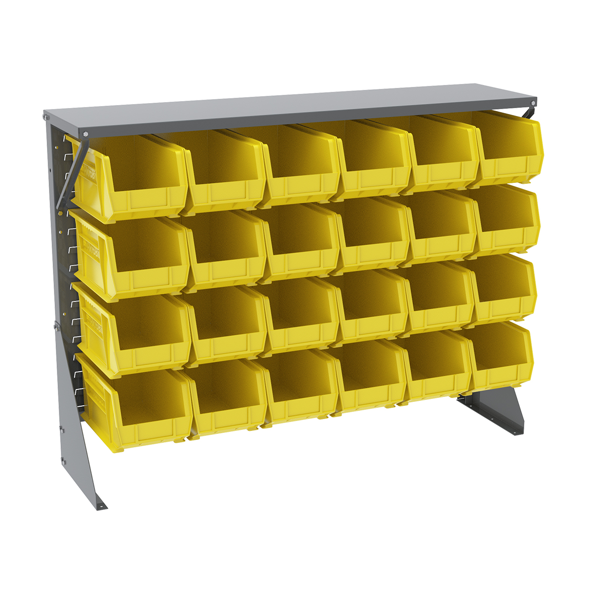 Item DISCONTINUED by Manufacturer.  Low Profile Floor Rack, 1-Sided, Shelf w/ 24 AkroBins, Gray/Yellow (30650GY240Y).  This item sold in carton quantities of 1.