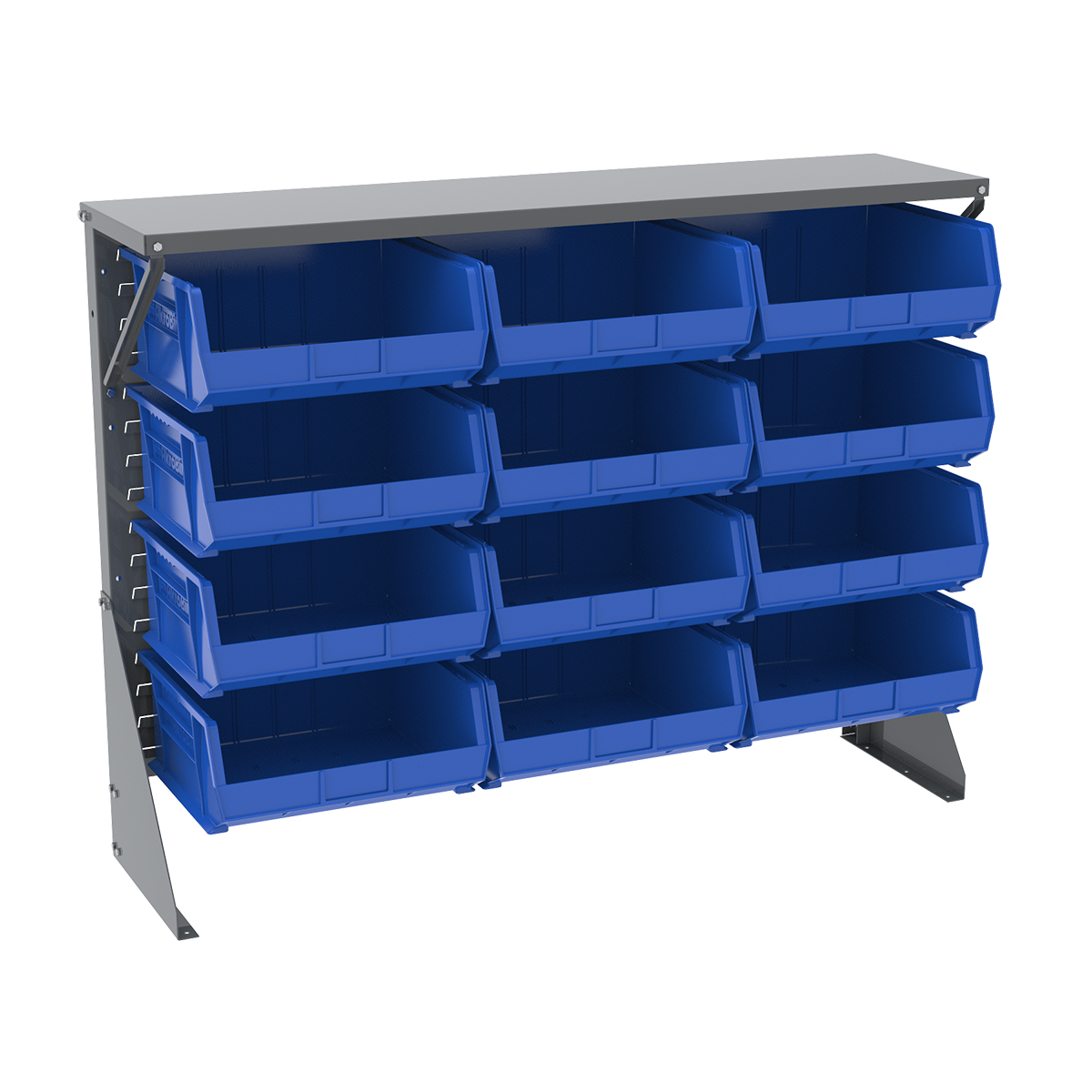 Item DISCONTINUED by Manufacturer.  Low Profile Floor Rack, 1-Sided, Shelf w/ 12 AkroBins, Gray/Blue (30650GY250B).  This item sold in carton quantities of 1.