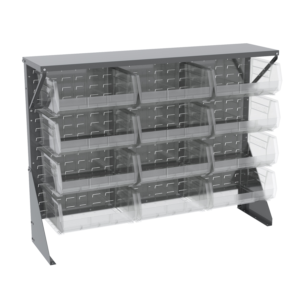 Item DISCONTINUED by Manufacturer.  Low Profile Floor Rack, 1-Sided, Shelf w/ 12 AkroBins, Gray/Clear (30650GY250SC).  This item sold in carton quantities of 1.