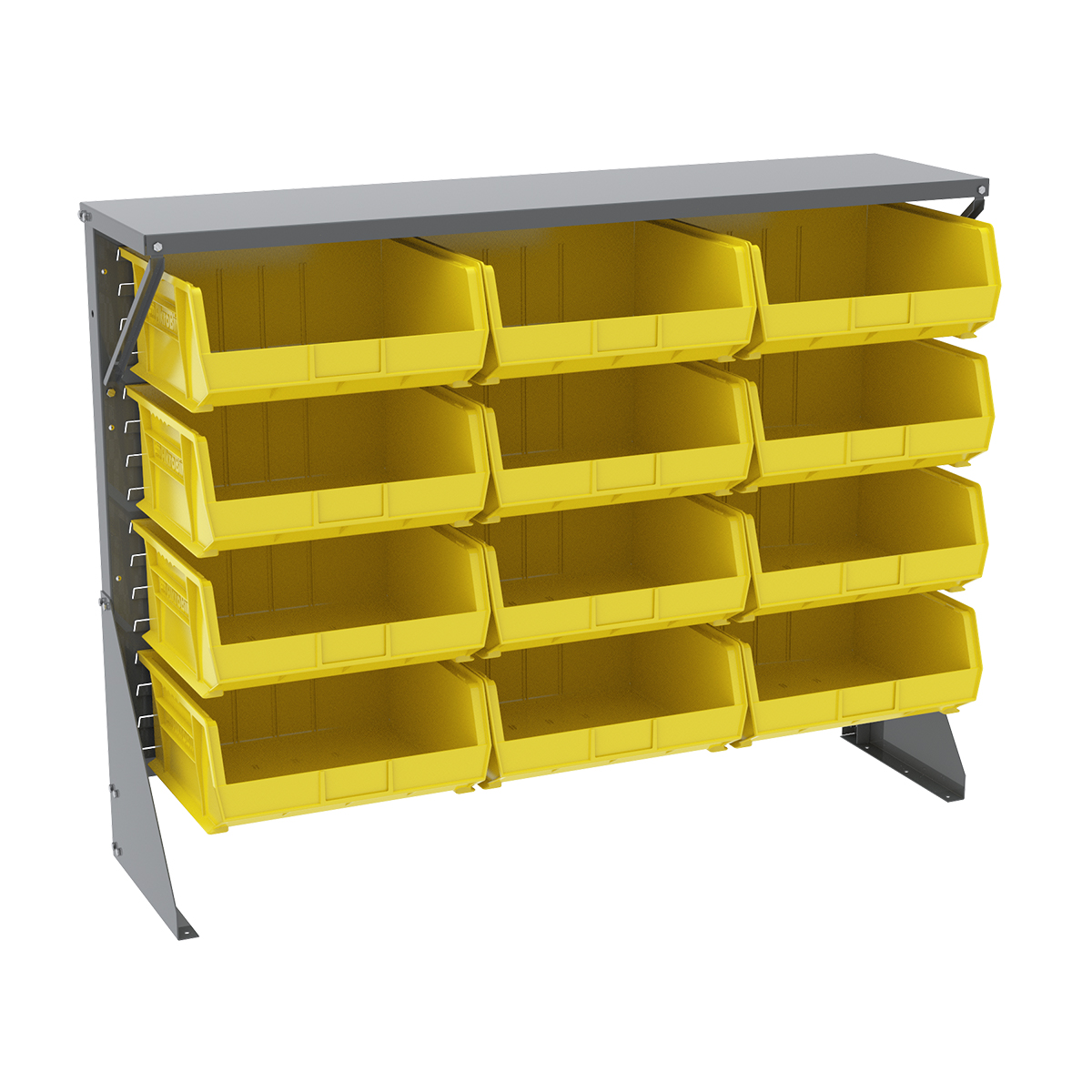 Item DISCONTINUED by Manufacturer.  Low Profile Floor Rack, 1-Sided, Shelf w/ 12 AkroBins, Gray/Yellow (30650GY250Y).  This item sold in carton quantities of 1.