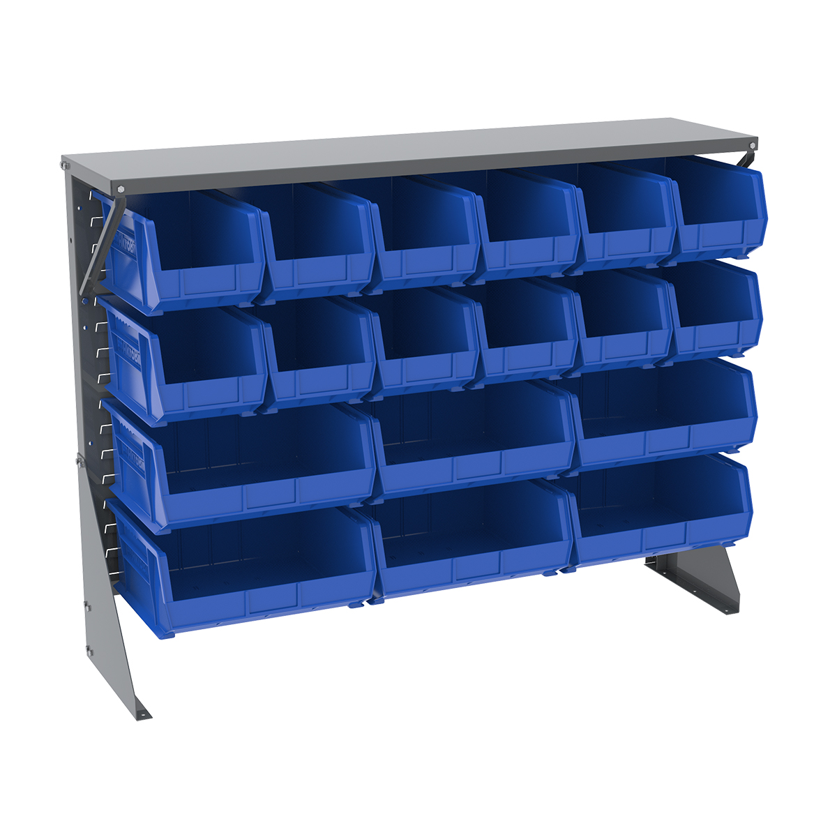 Item DISCONTINUED by Manufacturer.  Low Profile Floor Rack, 1-Sided, Shelf w/ 18 AkroBins, Gray/Blue (30650GYASSTB).  This item sold in carton quantities of 1.