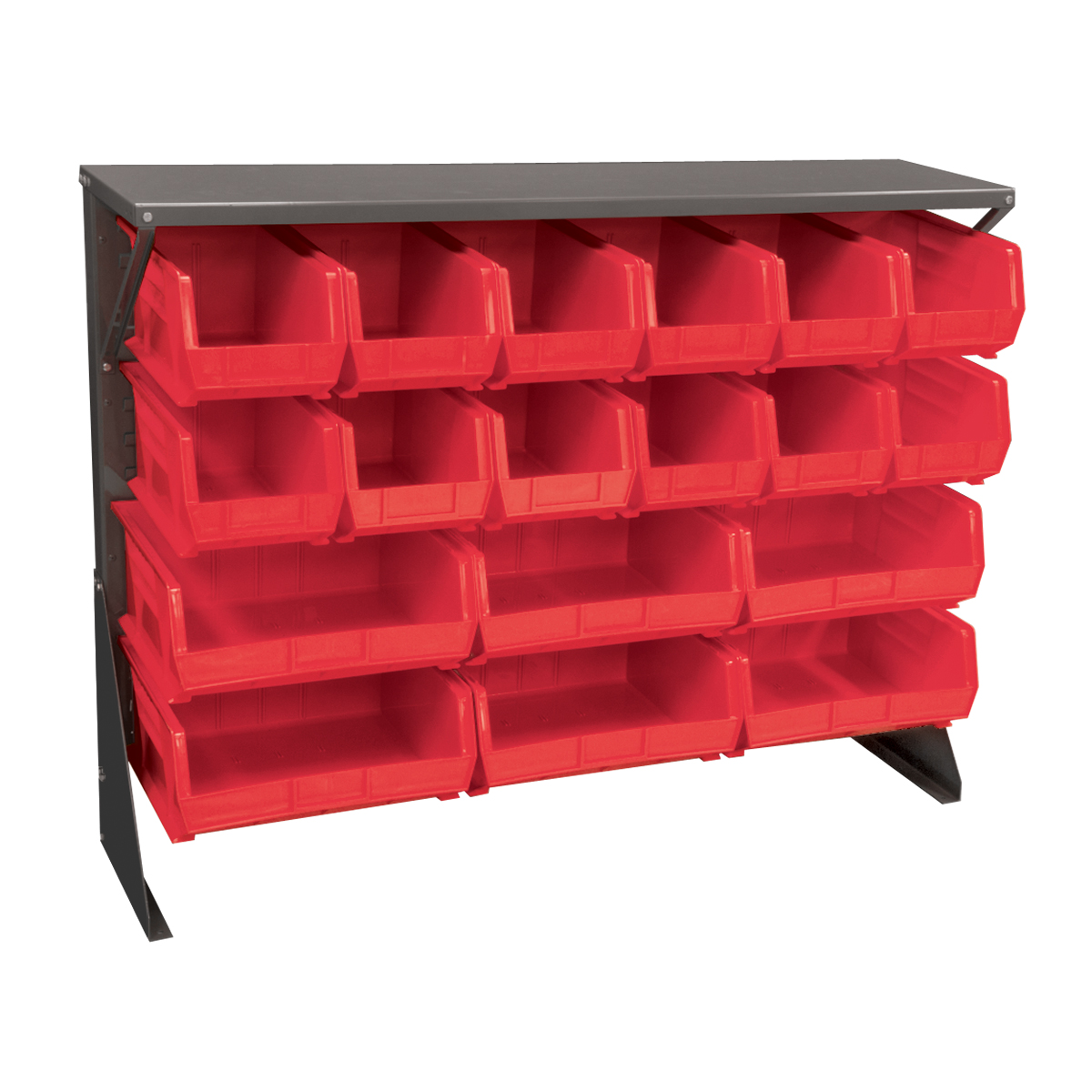 Item DISCONTINUED by Manufacturer.  Low Profile Floor Rack, 1-Sided, Shelf w/ 18 AkroBins, Gray/Red (30650GYASSTR).  This item sold in carton quantities of 1.