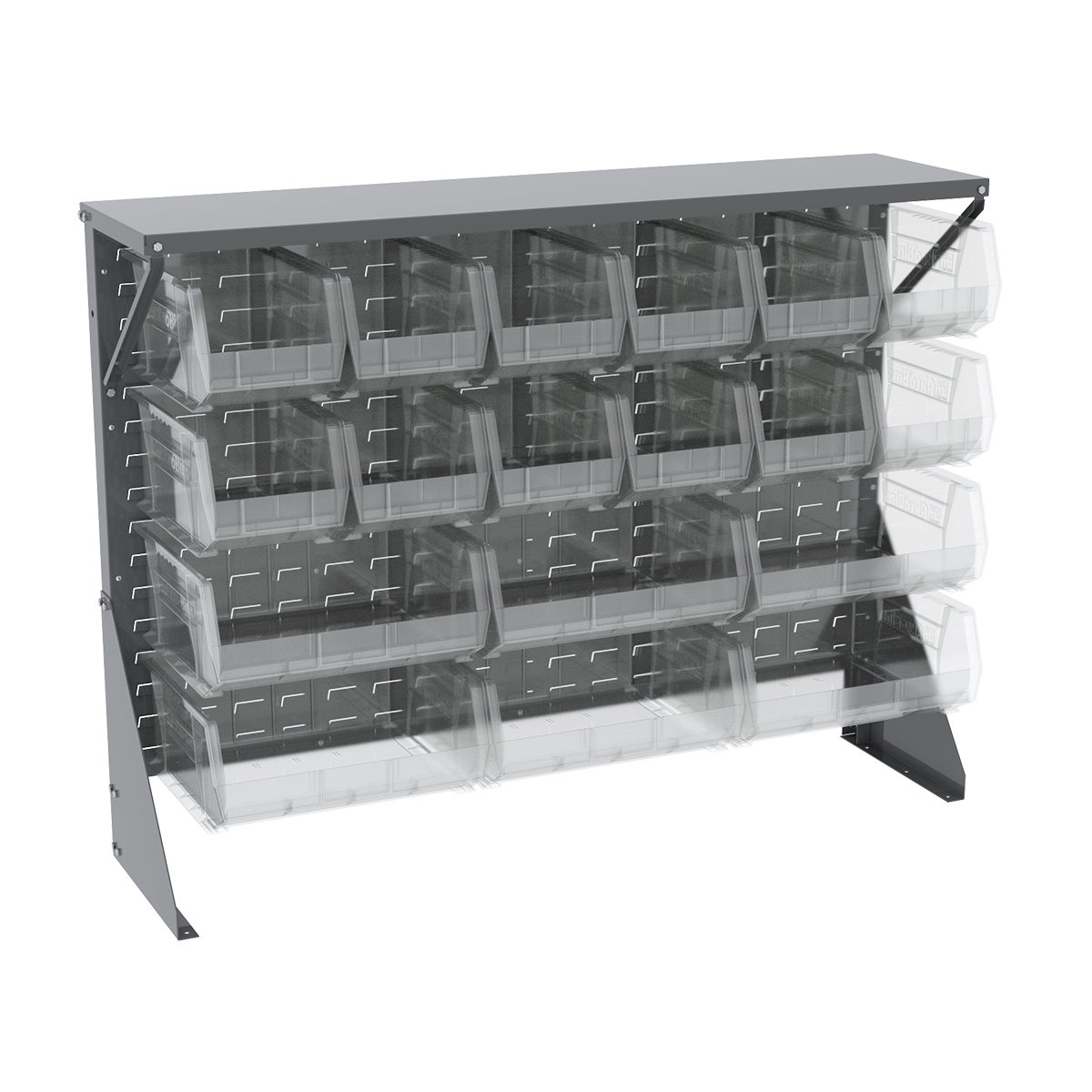 Item DISCONTINUED by Manufacturer.  Low Profile Floor Rack, 1-Sided, Shelf w/ 18 AkroBins, Gray/Clear (30650GYASSTSC).  This item sold in carton quantities of 1.