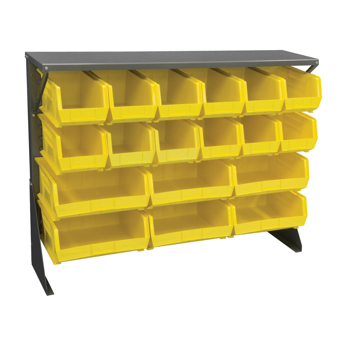 Item DISCONTINUED by Manufacturer.  Low Profile Floor Rack, 1-Sided, Shelf w/ 18 AkroBins, Gray/Yellow (30650GYASSTY).  This item sold in carton quantities of 1.
