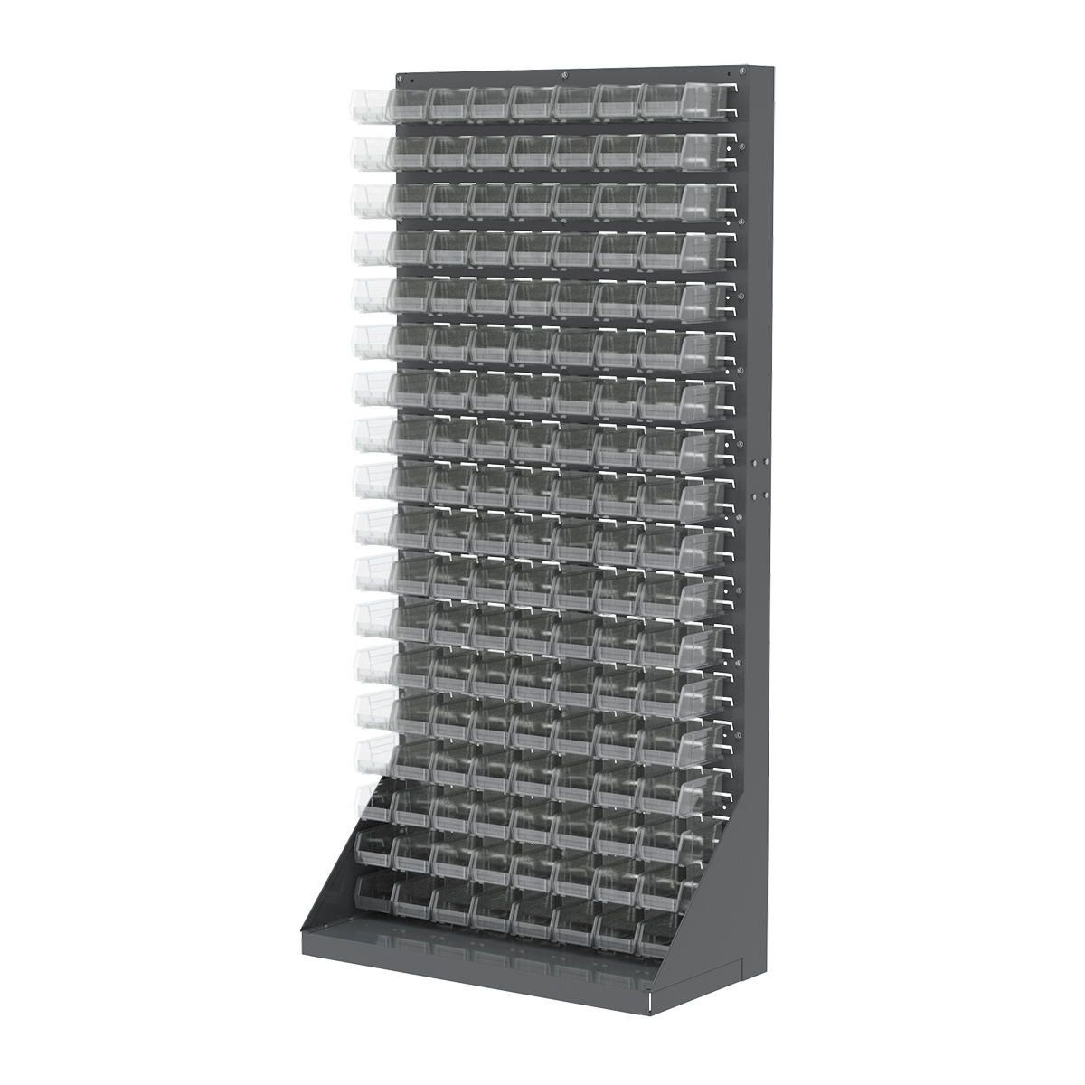 Item DISCONTINUED by Manufacturer.  Heavy-Duty Louvered Floor Rack, 1-Sided, 35-3/4 x 17 x 75, w/ 144 AkroBins 30220SCLAR, Gray/Clear (30651220SC).  This item sold in carton quantities of 1.