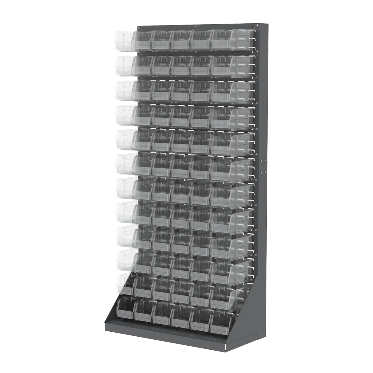 Item DISCONTINUED by Manufacturer.  Heavy-Duty Louvered Floor Rack, 1-Sided, 35-3/4 x 17 x 75, w/ 72 AkroBins 30230SCLAR, Gray/Clear (30651230SC).  This item sold in carton quantities of 1.